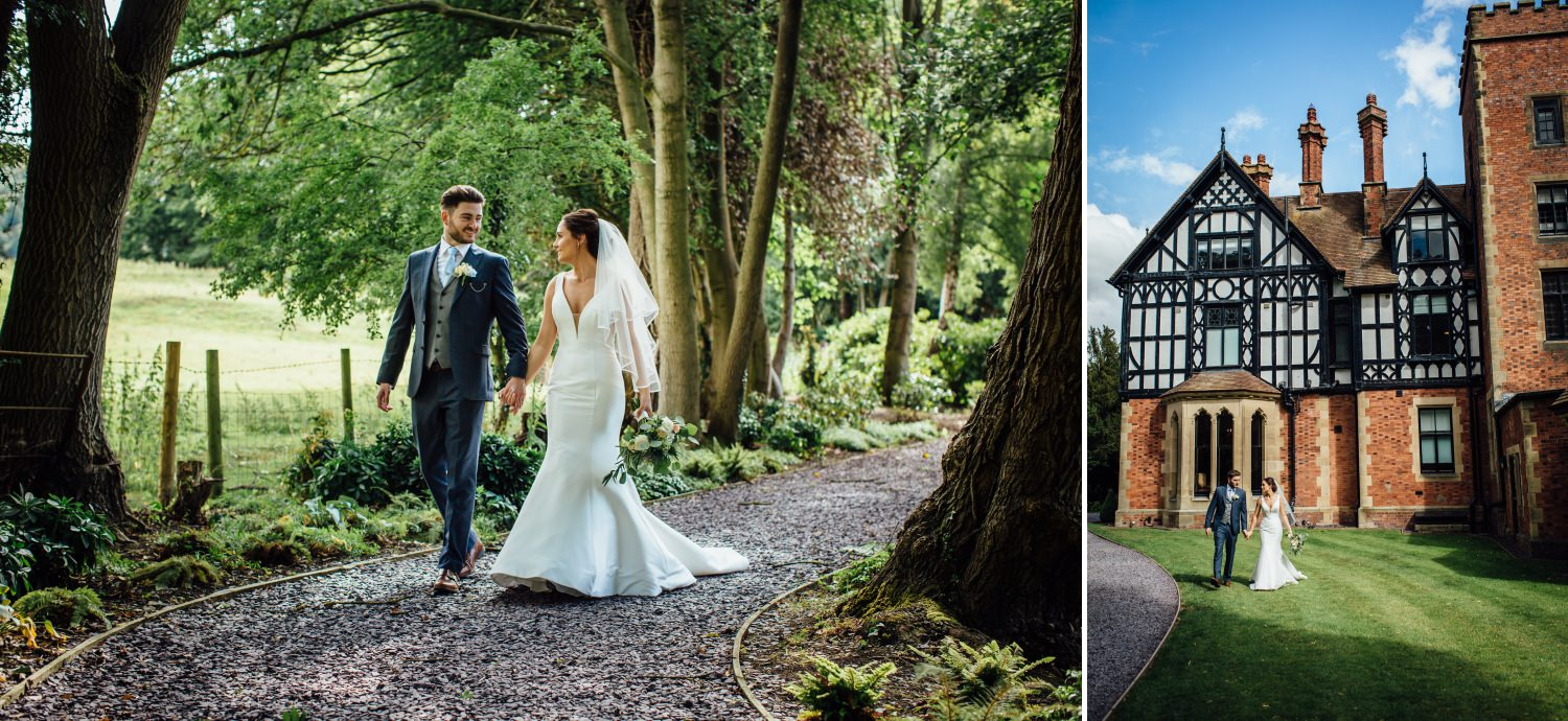 wedding photography of couple walking at Tyn Dwr Hall, North Wales