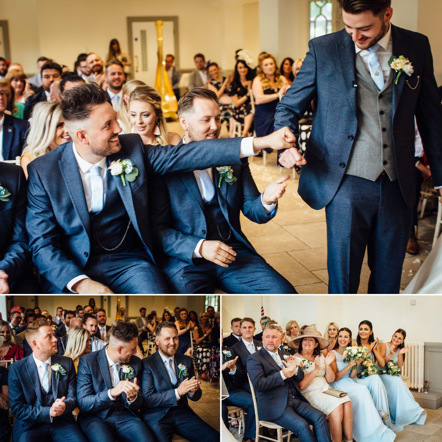 Wedding ceremony guests at Tyn Dwr Hall