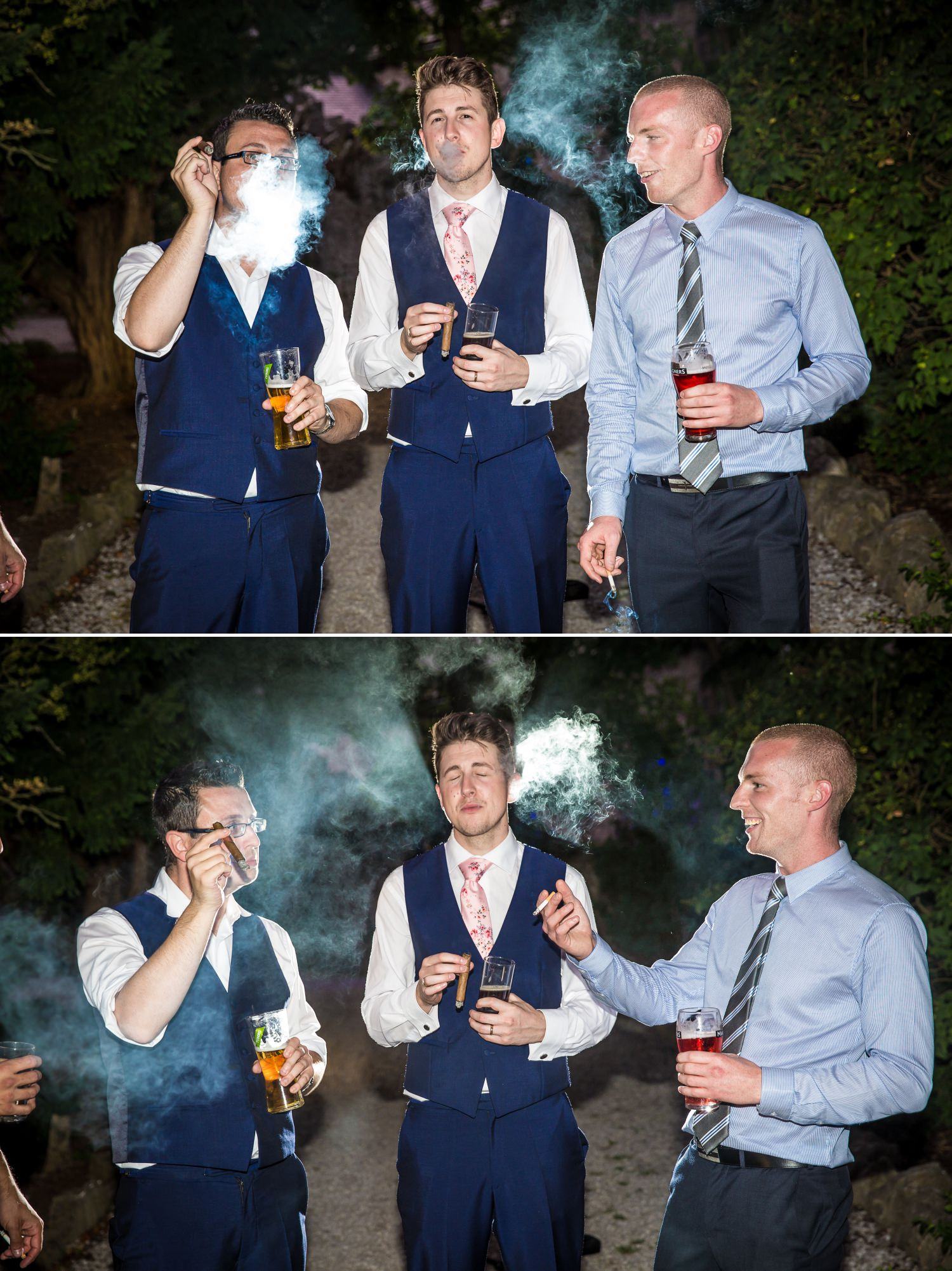 Guests smoking cigars at Faenol Fawr