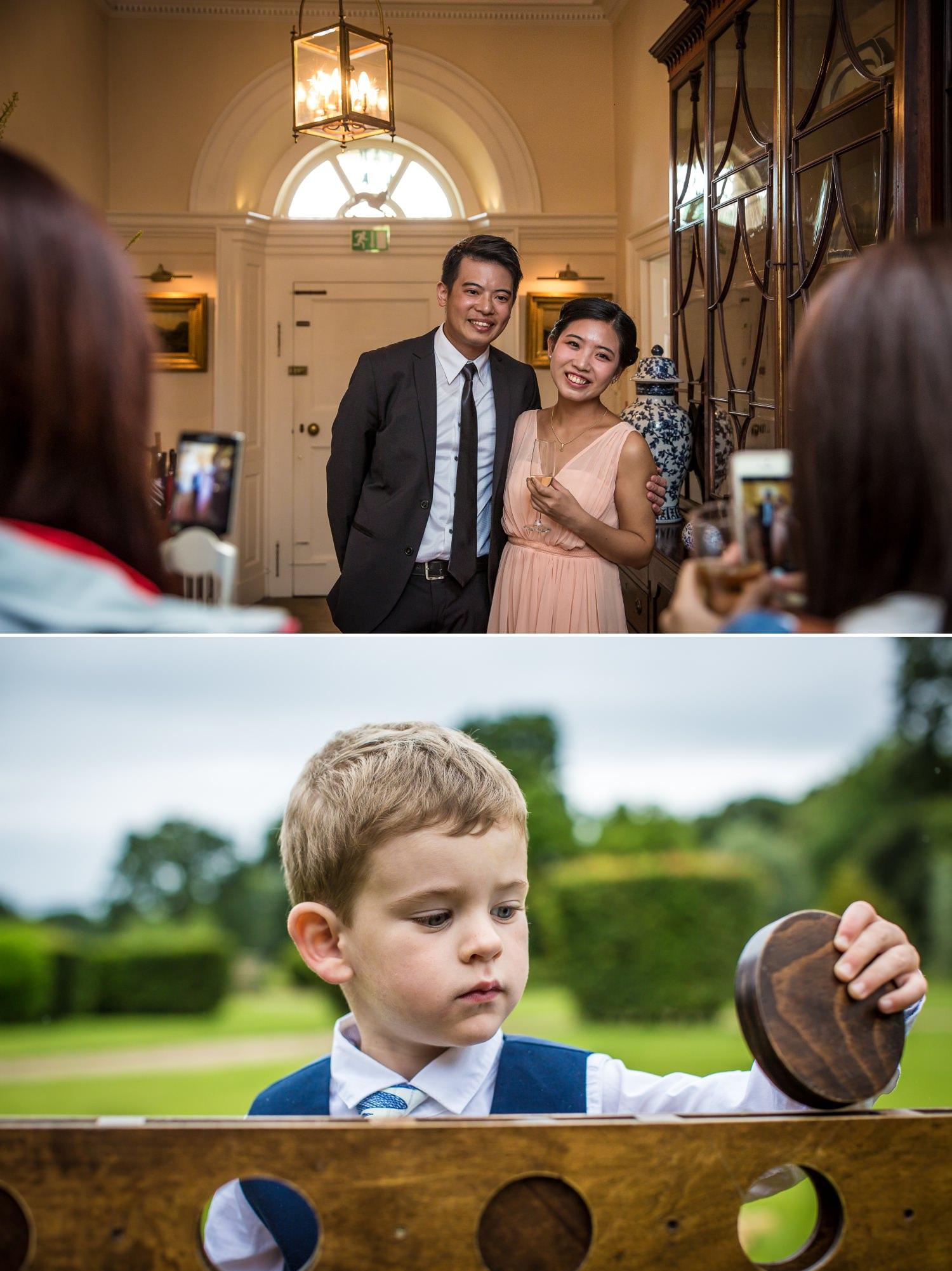 Wedding Photographs of guests mingling at Iscoyd Park