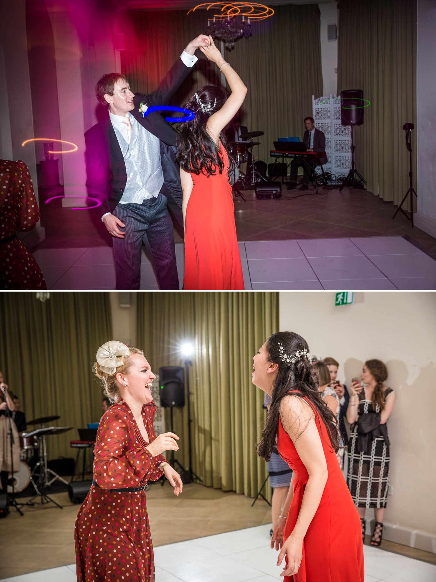 Wedding Photographs of bride and grrom dancing at Iscoyd Park