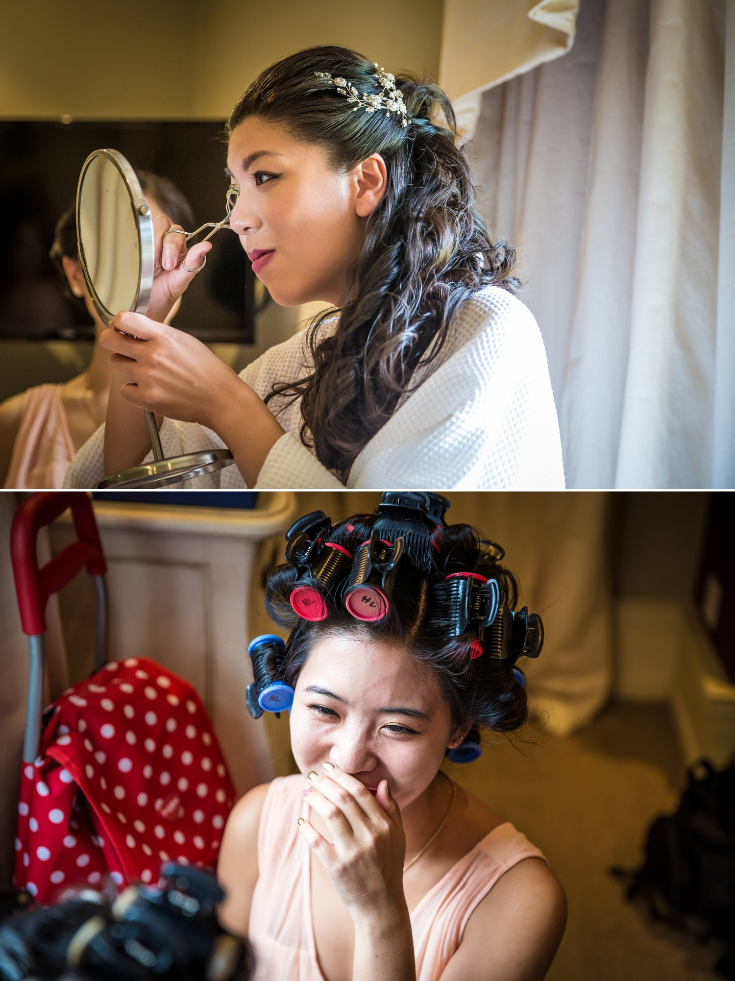 Wedding Photographs of bride getting ready in Willington Lodge before Iscoyd Park