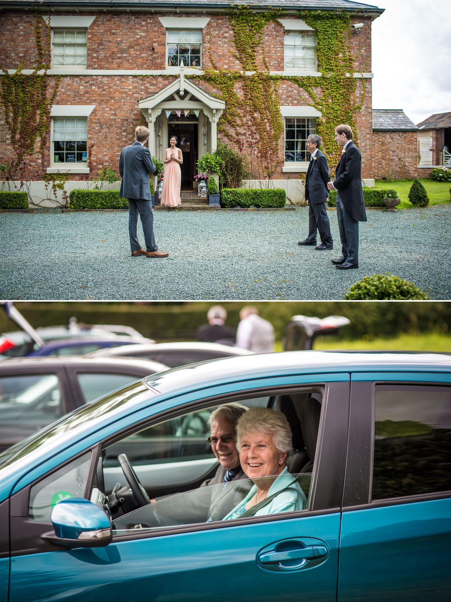 Wedding Photographs outside Willington Lodge before moving onto Iscoyd Park