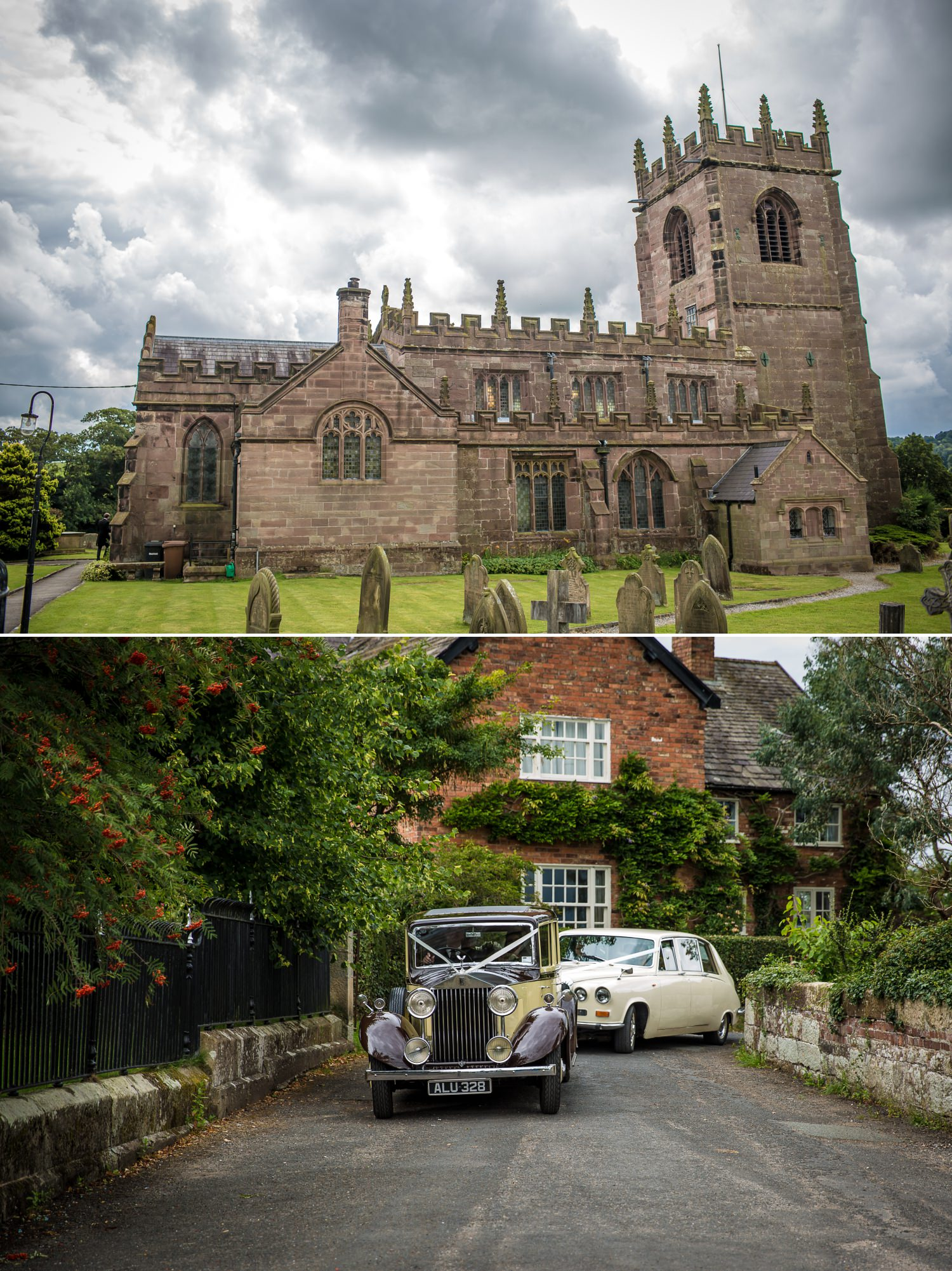 Wedding photographs at Church ceremony before reception at Iscoyd Park