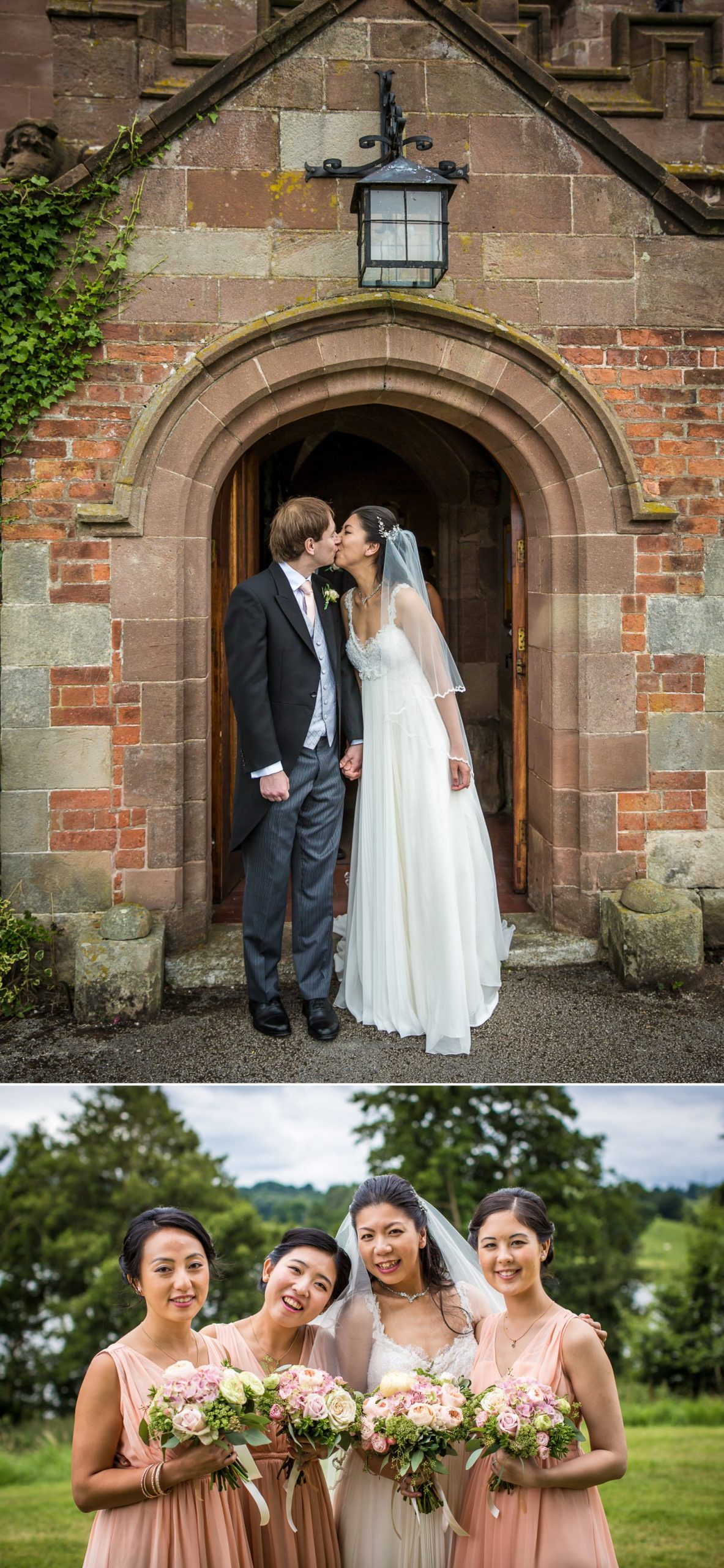 Outside church first kiss Wedding Photographs before reception at Iscoyd Park