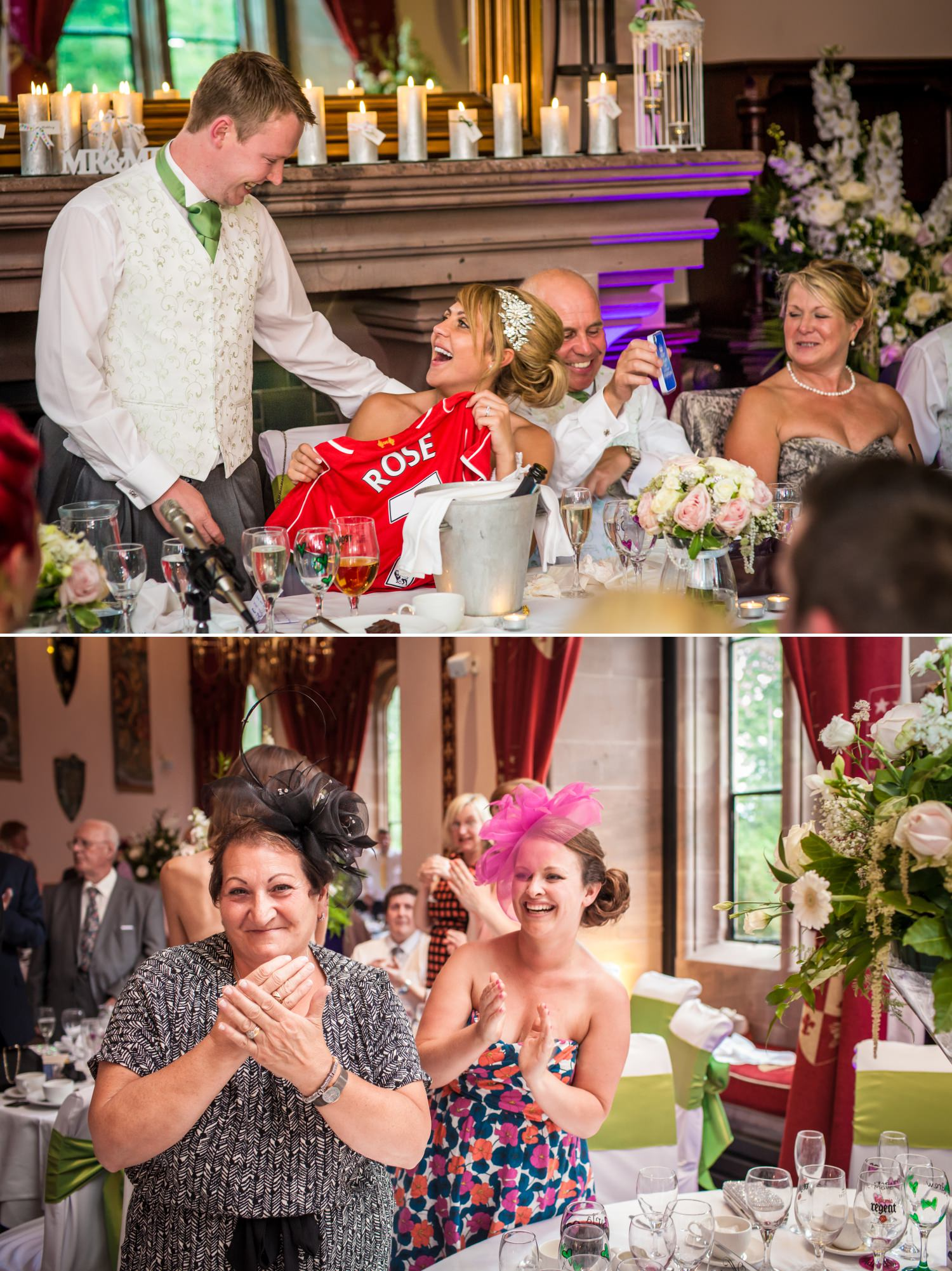 Guests clapping in Peckforton Castle, Cheshire Wedding photograph
