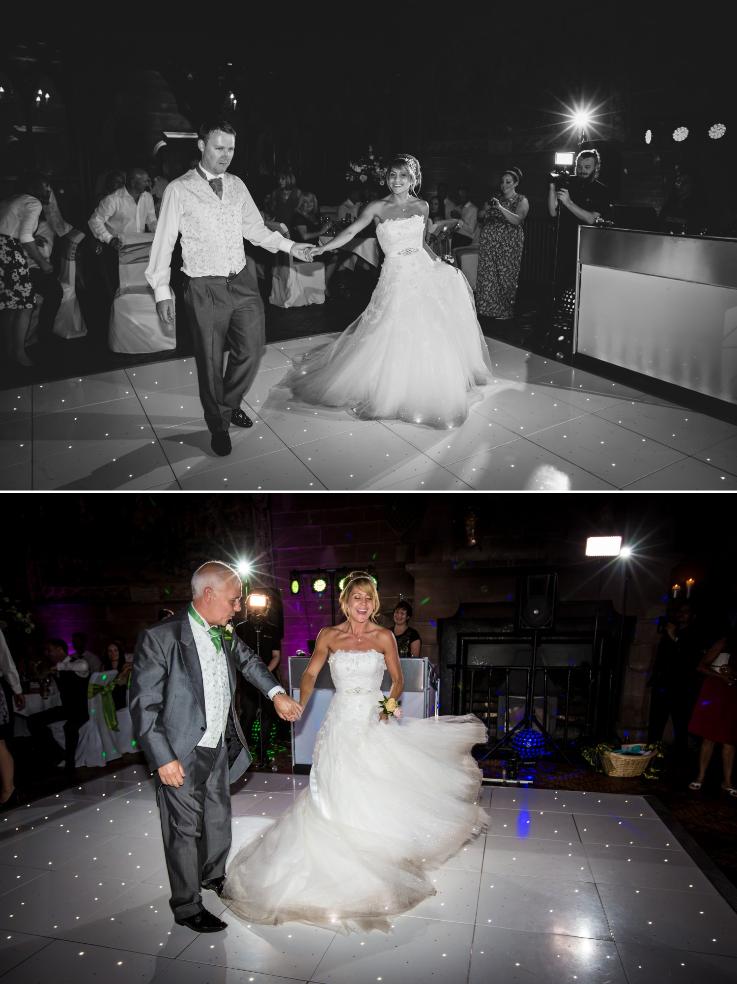 Wedding photograph of first dance in Cheshire wedding venue, Peckforton Castle
