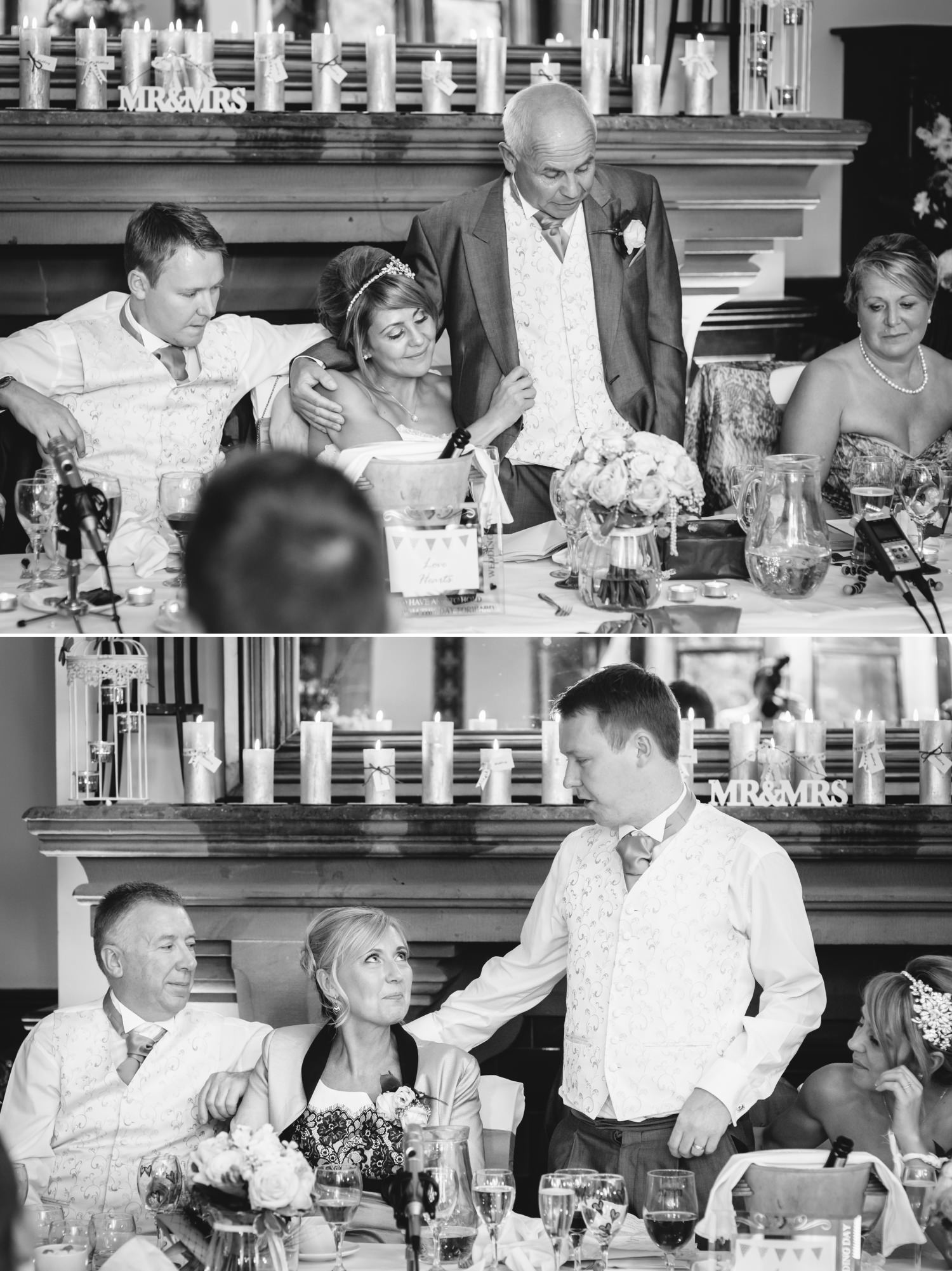 Wedding photograph of speeches in Cheshire venue, Peckforton Castle