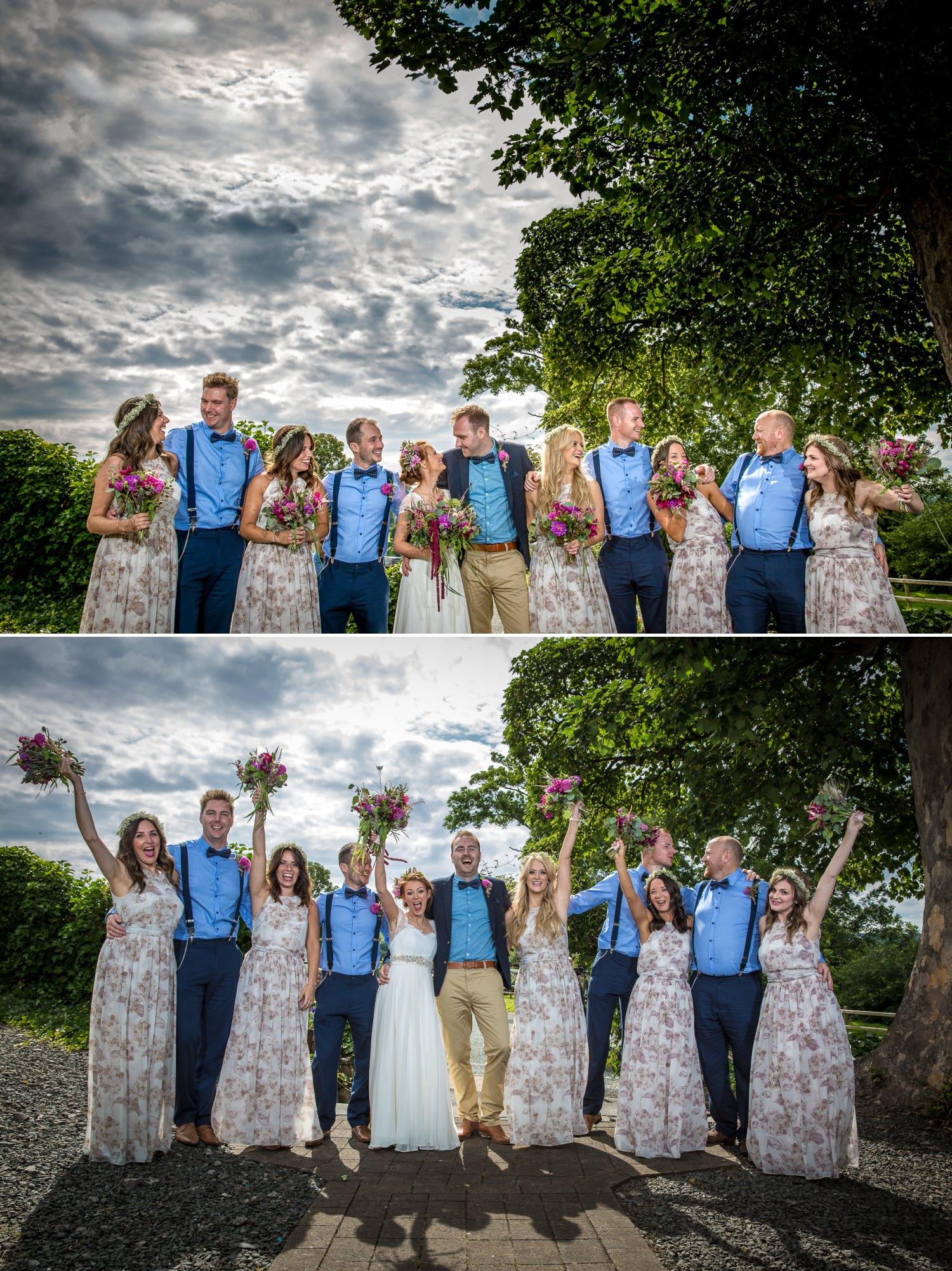 wedding photograph of bridesmaids at Plas Isaf