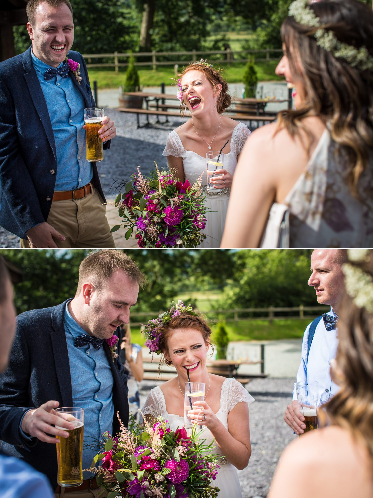 wedding photograph of guests laughing at Plas Isaf