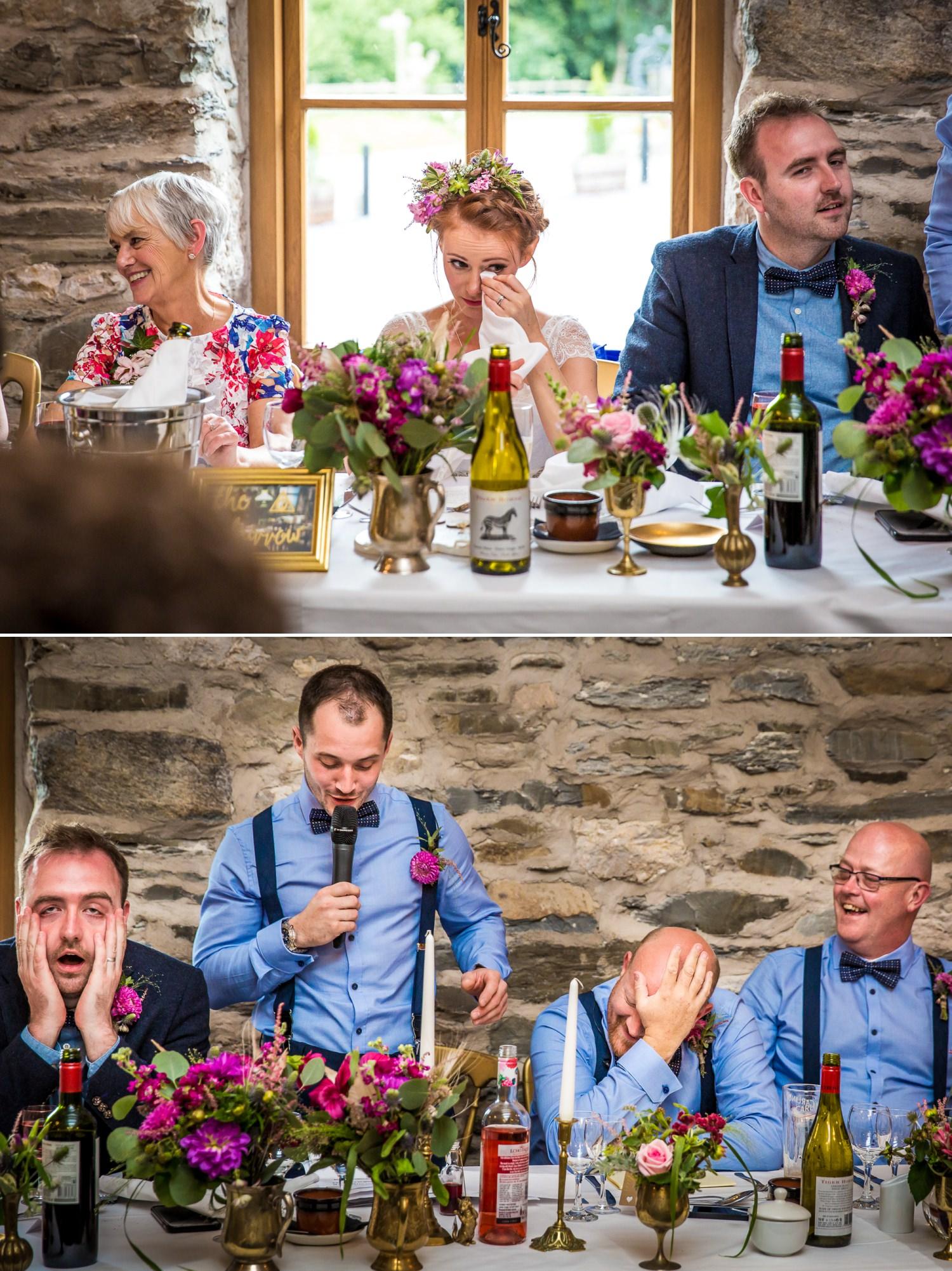 emotional speeches wedding photograph at Plas Isaf