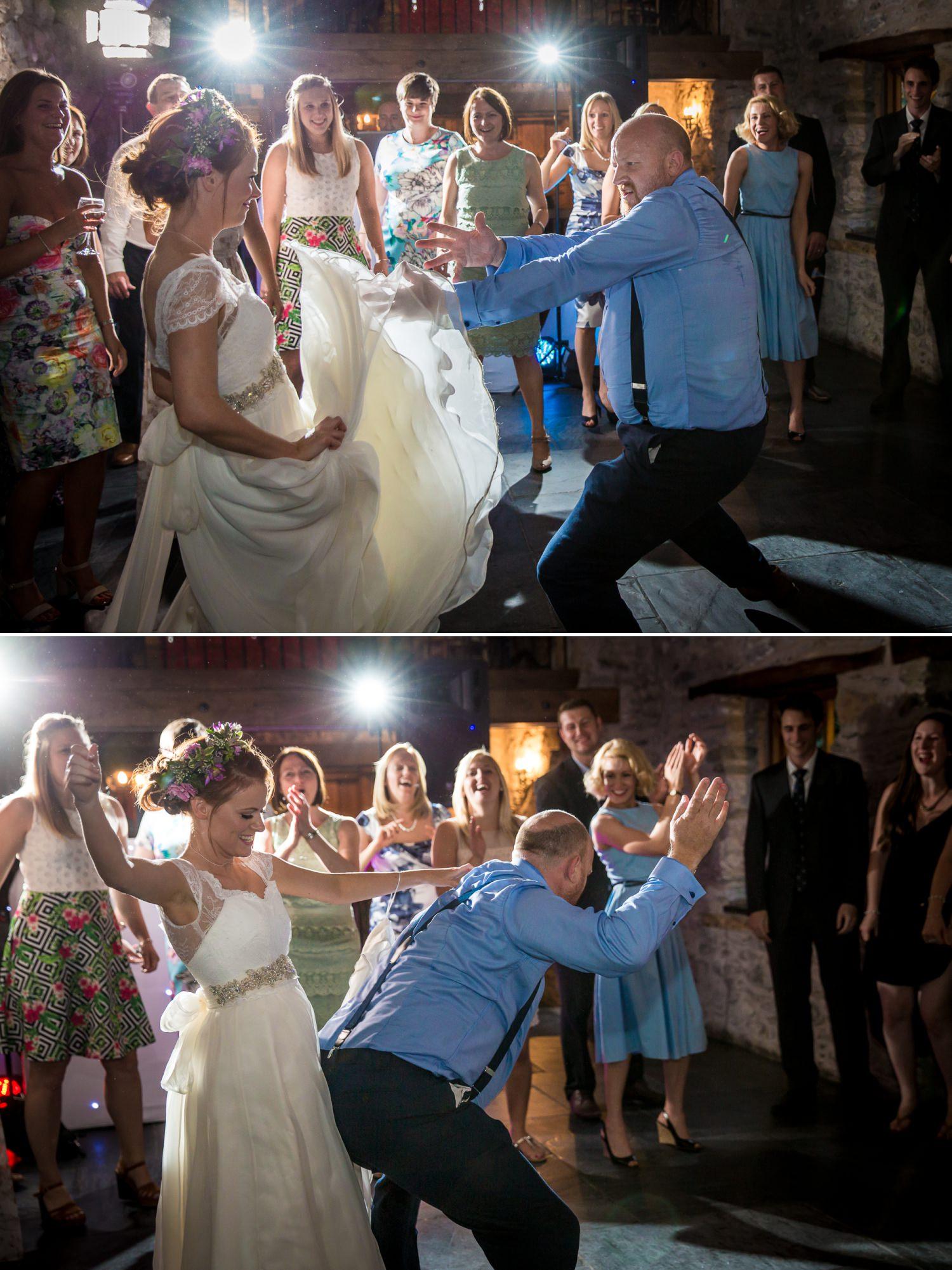evening dancing at wedding photograph at Plas Isaf