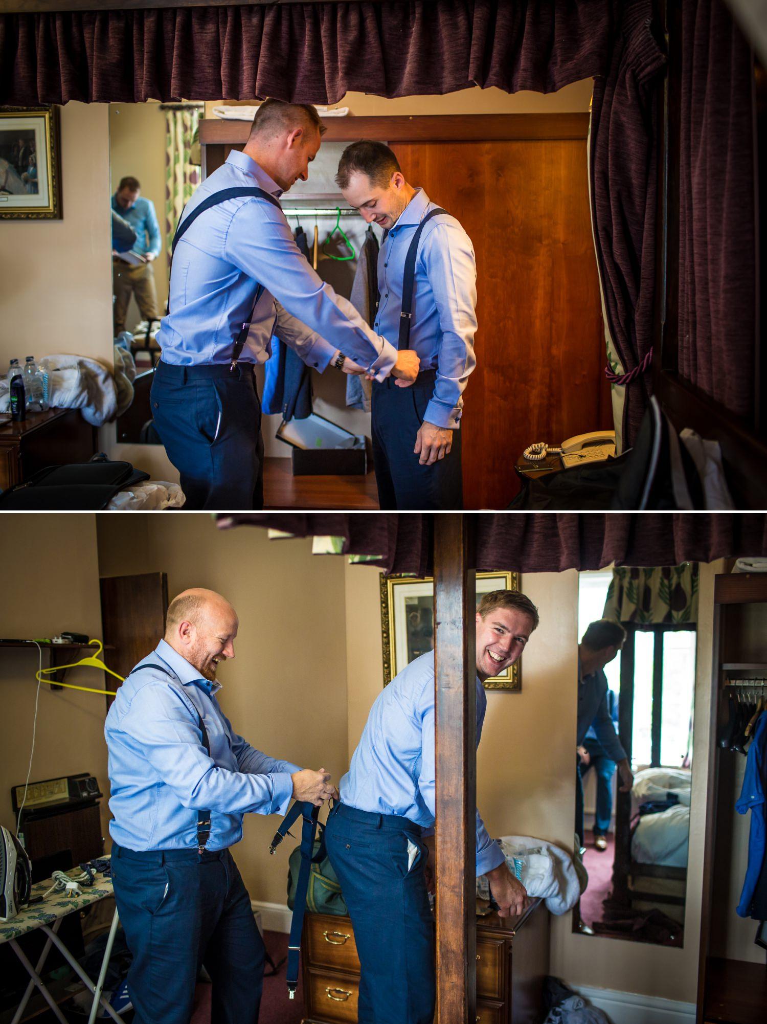 Wedding photograph of groomsmen Plas Isaf