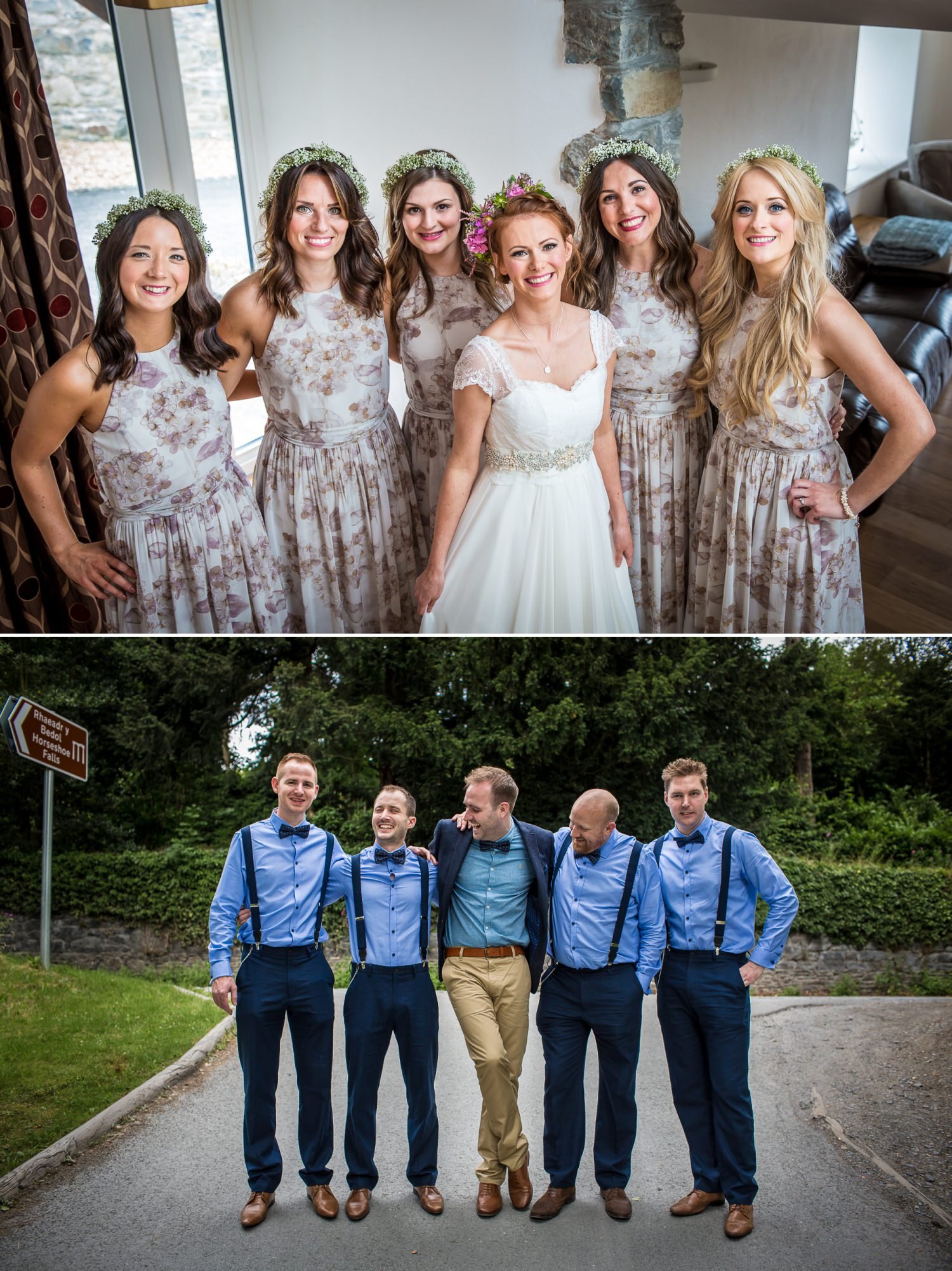 Wedding photograph of bride and bridesmaids in Plas Isaf