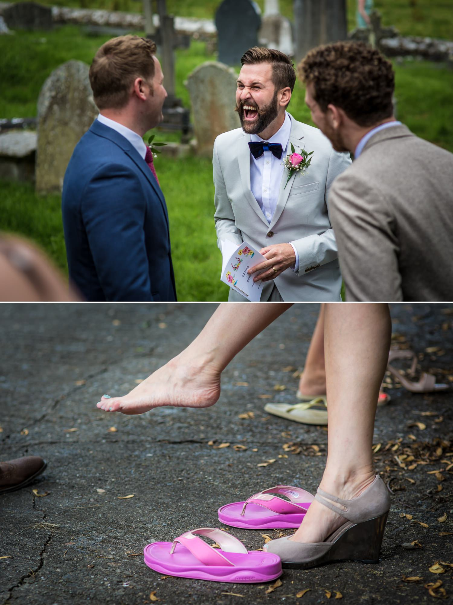 Wedding photography of guests at Plas Isaf