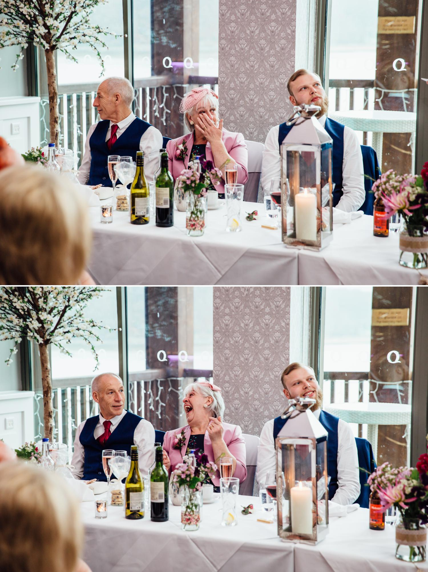 Emotional speeches Wedding Photograph at Quay Hotel, North Wales