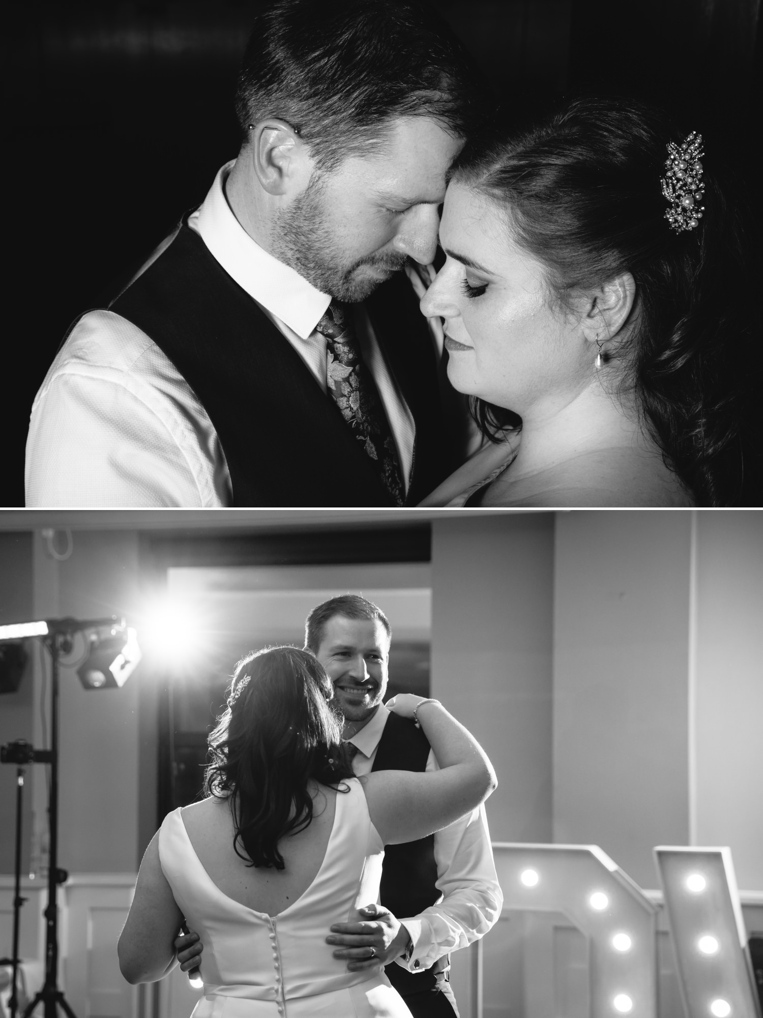Wedding Photograph black and white portrait in Quay Hotel, North Wales