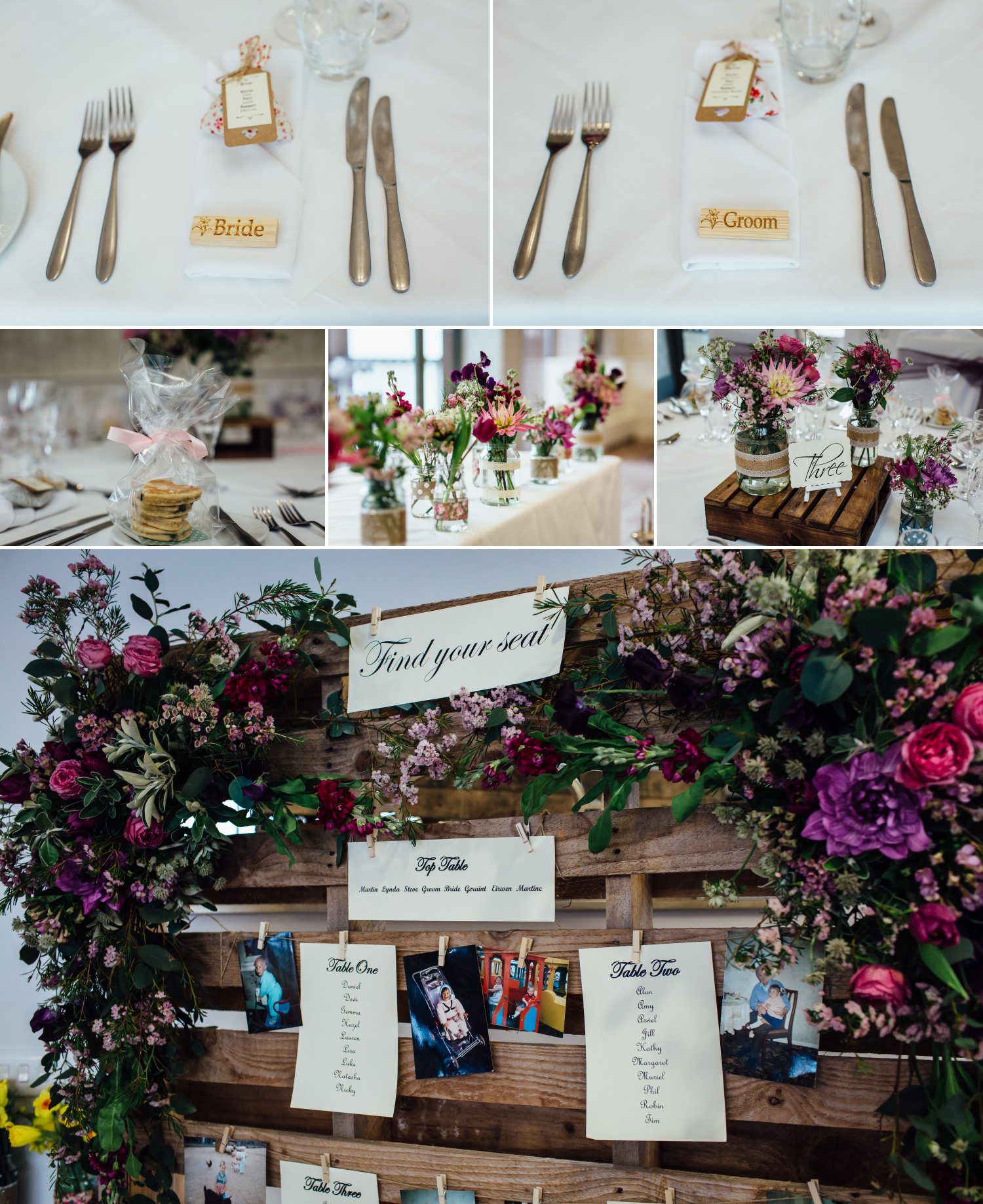 Wedding Photograph of shabby chic table details at Quay Hotel, North Wales