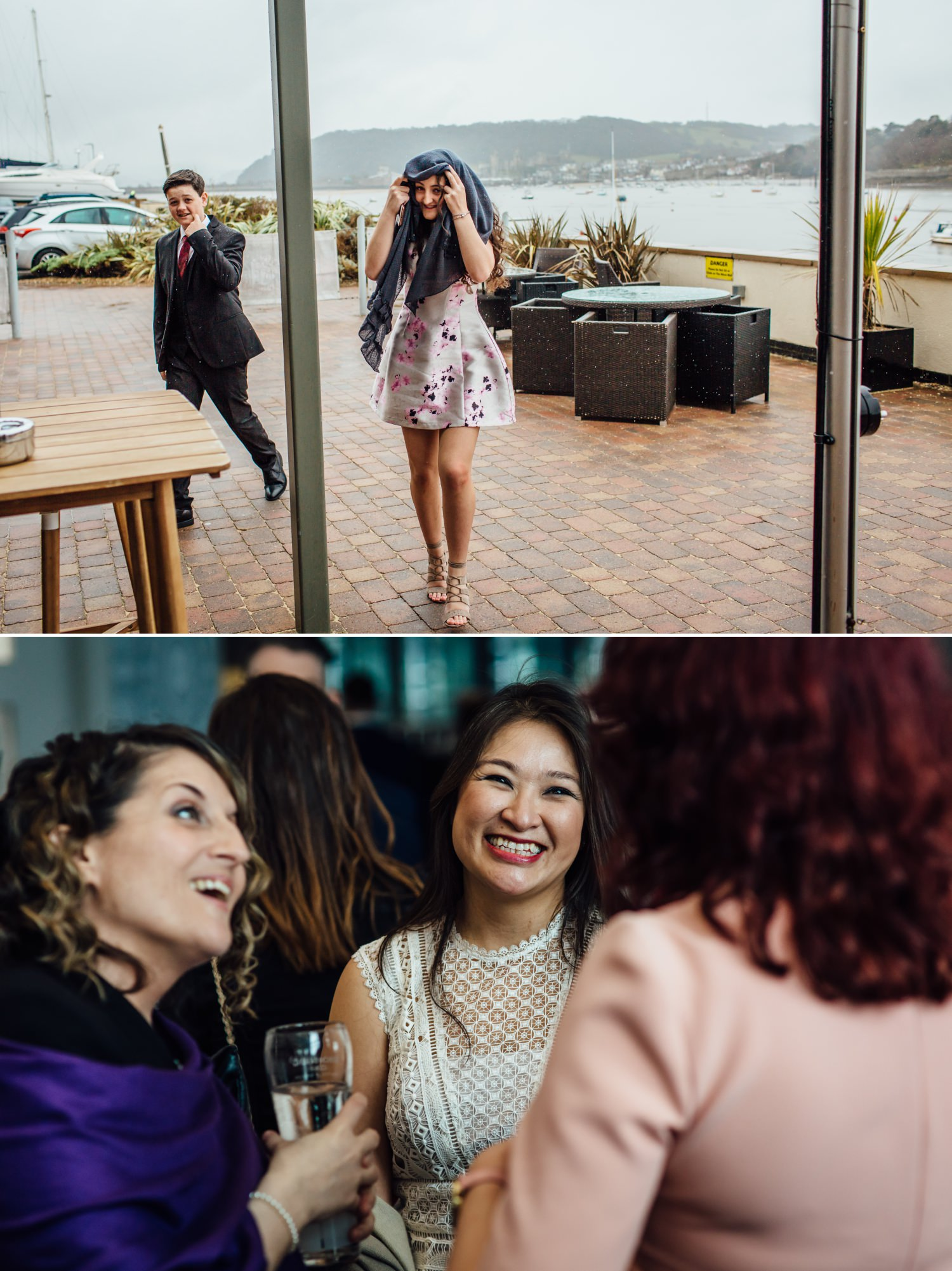 Wedding Photograph of guests at Quay Hotel, North Wales
