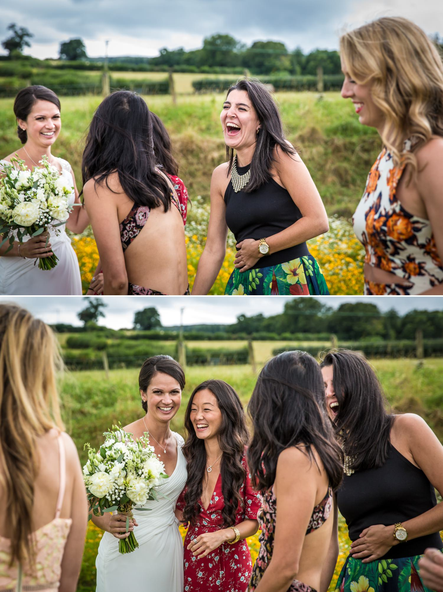 Wedding photographs of guests at Tower Hill Barns, Wrexham, North Wales