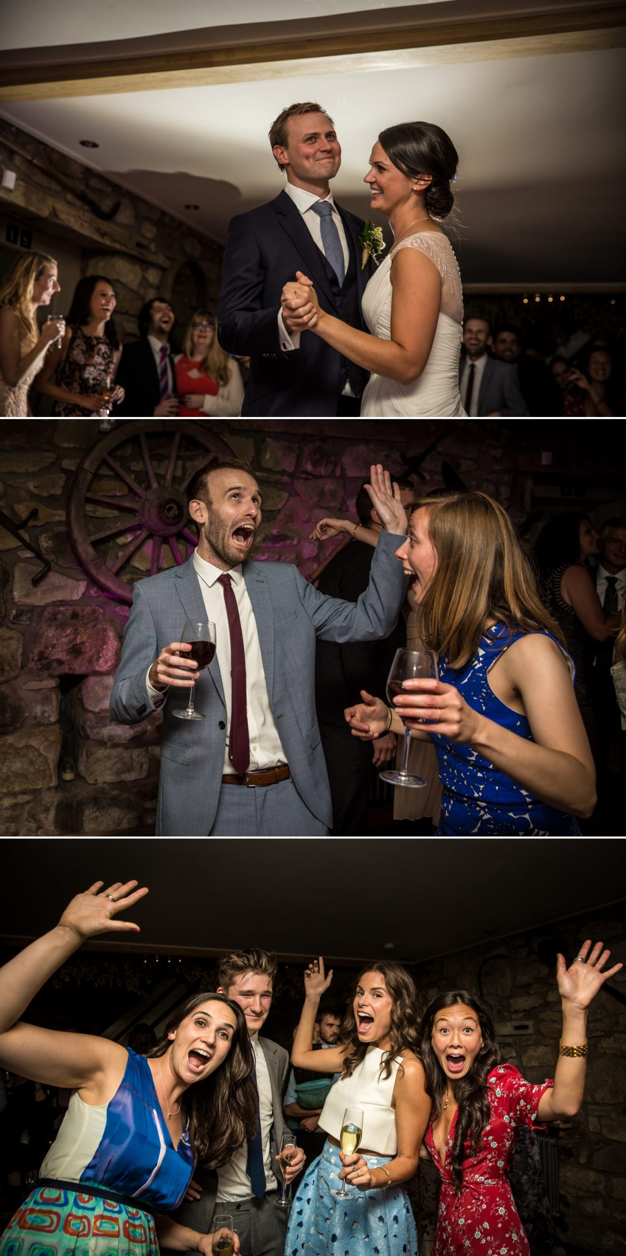 Wedding photographs of evening dancing at Tower Hill Barns, Wrexham, North Wales
