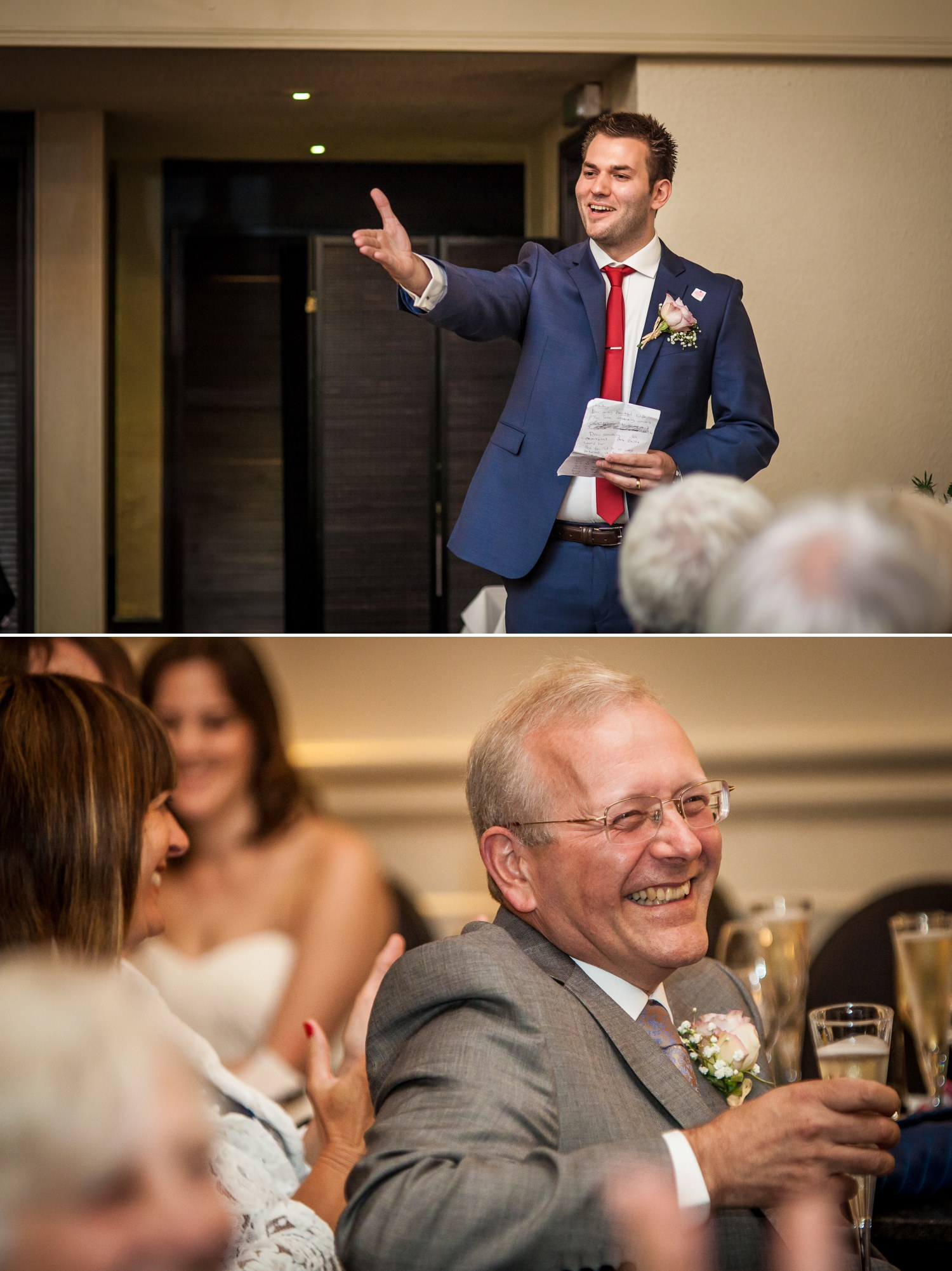 Wirral wedding photographer, photographing guest speeches