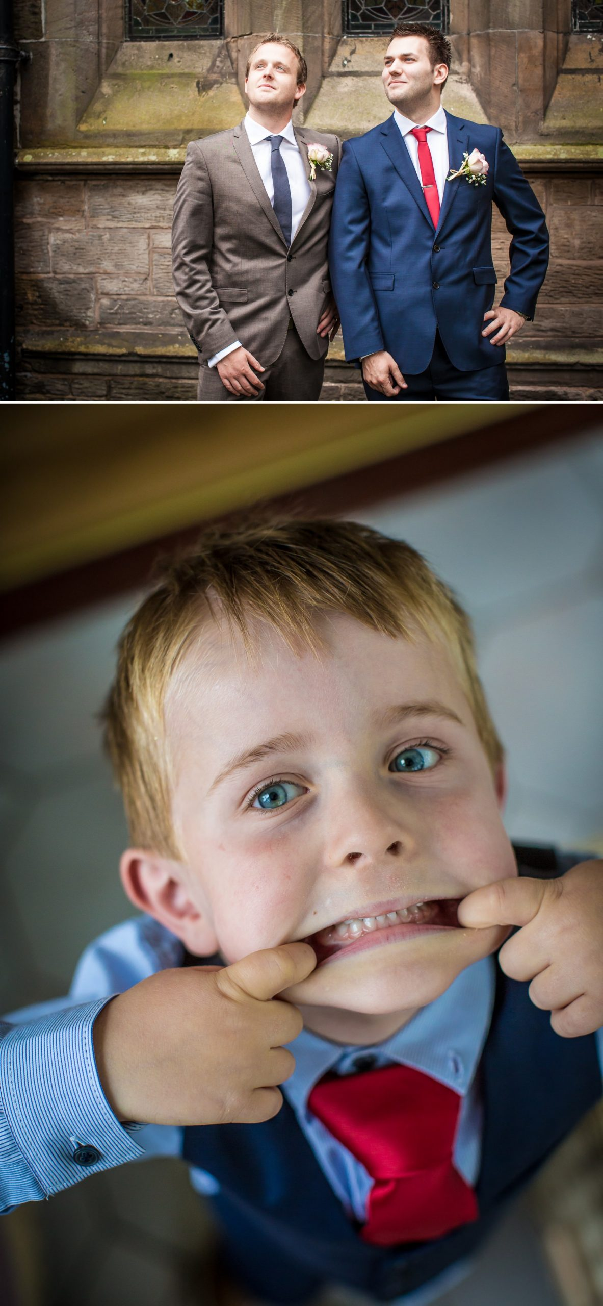 Wedding photography of the boys messing round in the Wirral