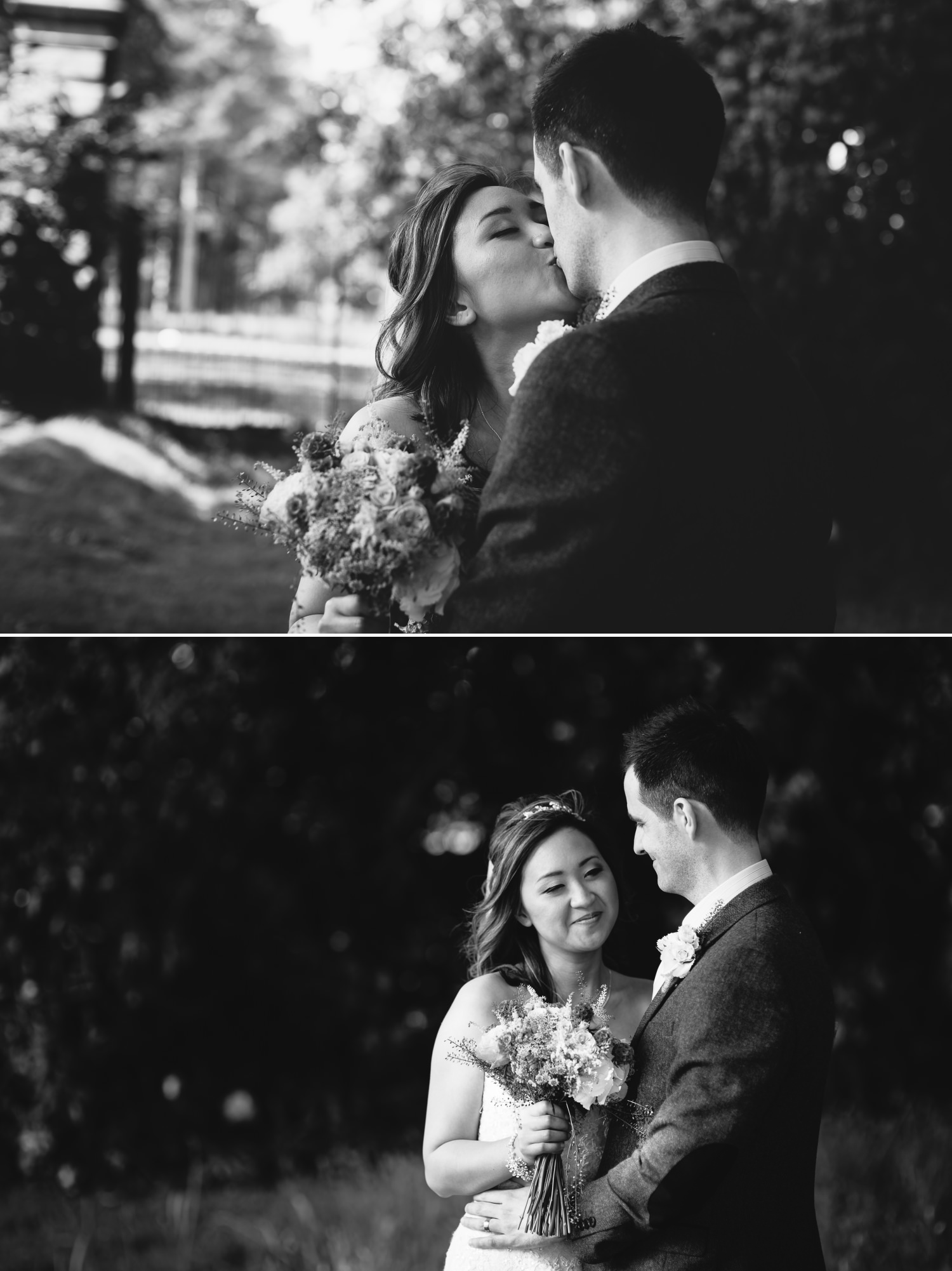 Black and white wedding Photographs in Tatton Park