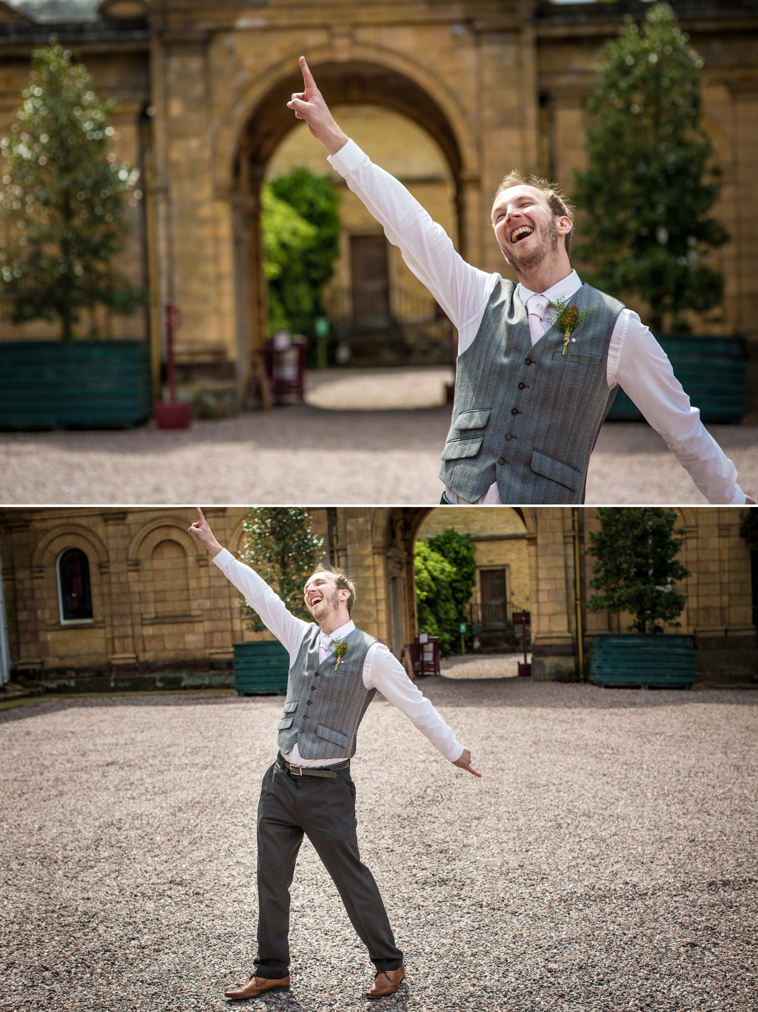 Wedding Photograph of guest pulling a funny pose in Cheshire wedding venue Tatton Park