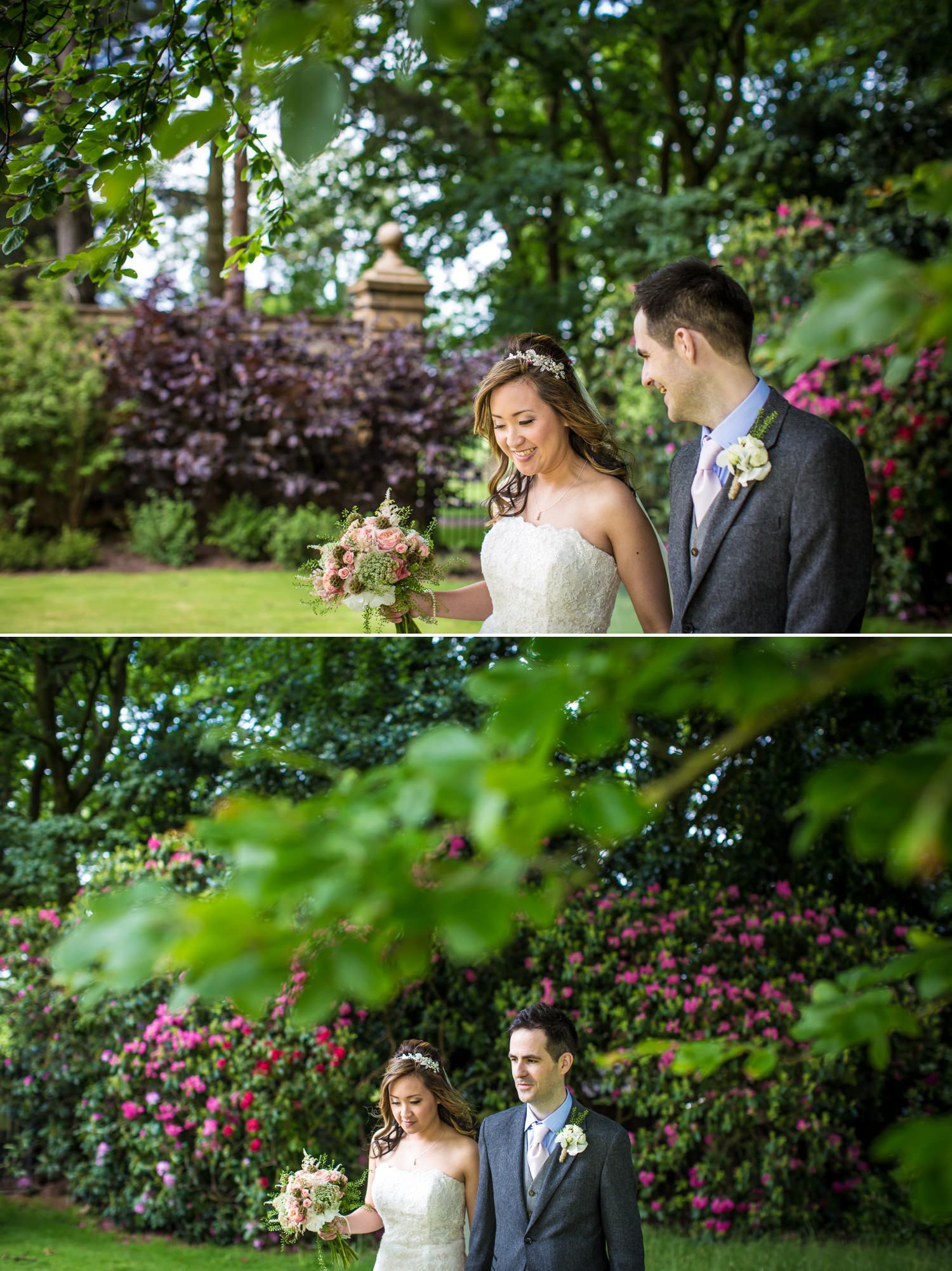 Wedding garden portraits, photographs of bride and groom in Cheshire wedding venue Tatton Park