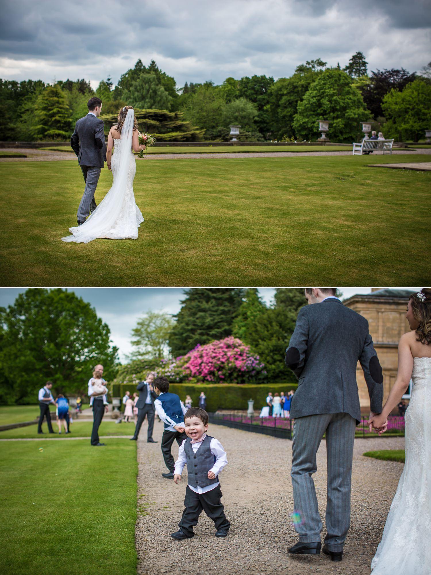 Guests having fun in professional wedding photograph taken at Tatton Park