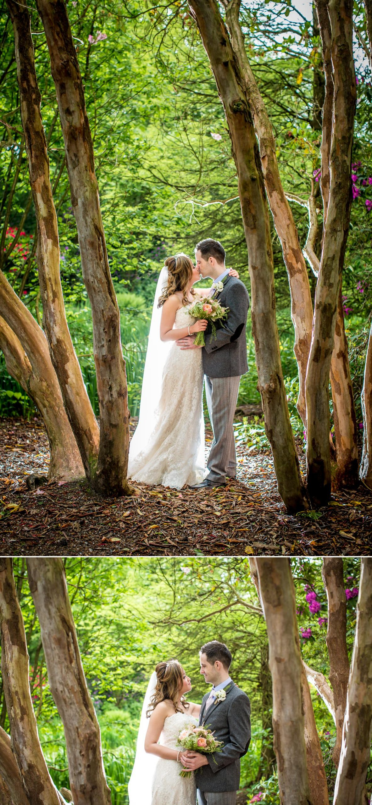 Wedding photograph taken in Japanese gardens in Tatton Park, Cheshire
