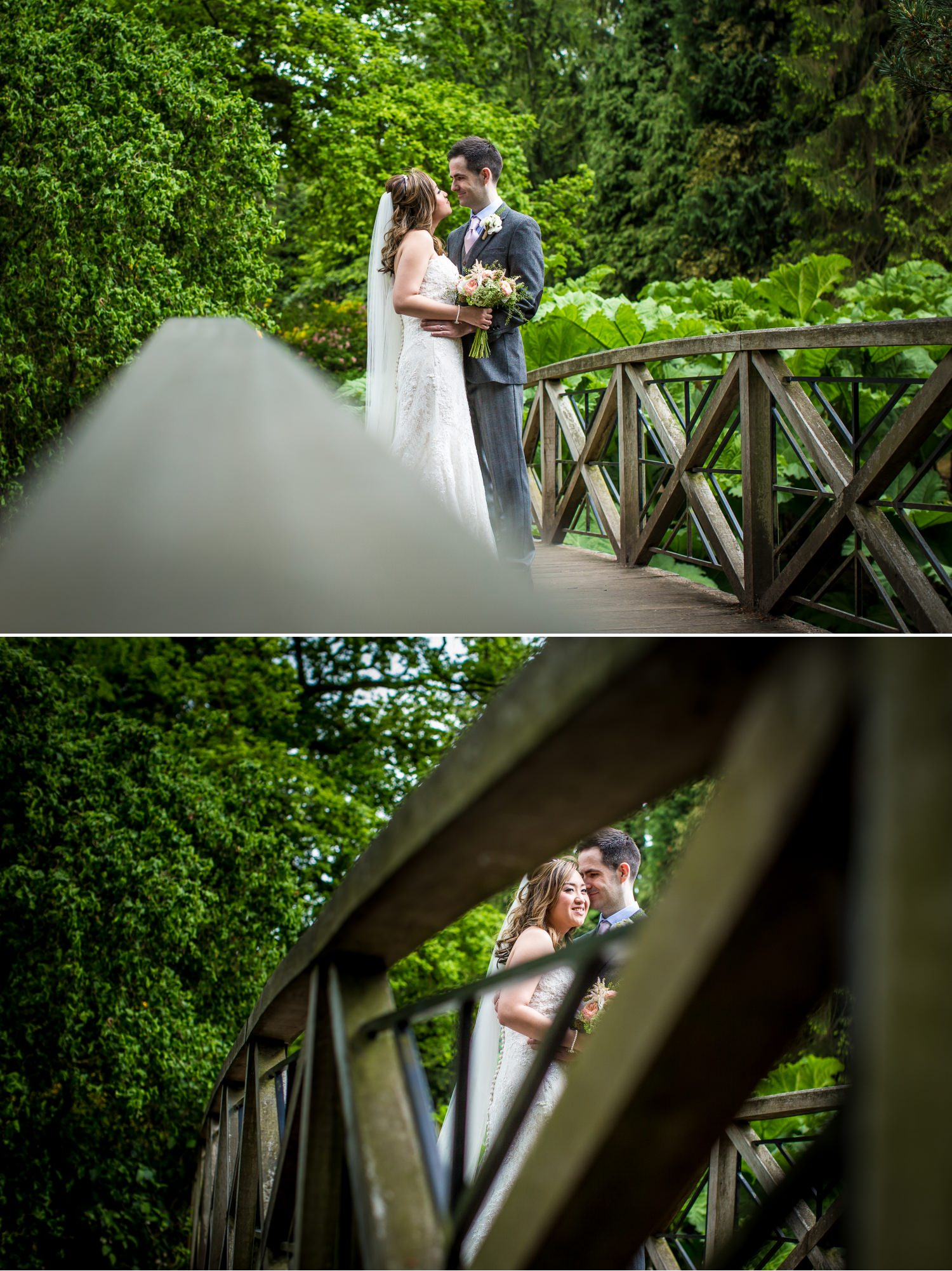 Wedding Photograph on bridge in Japanese gardens at Tatton Park