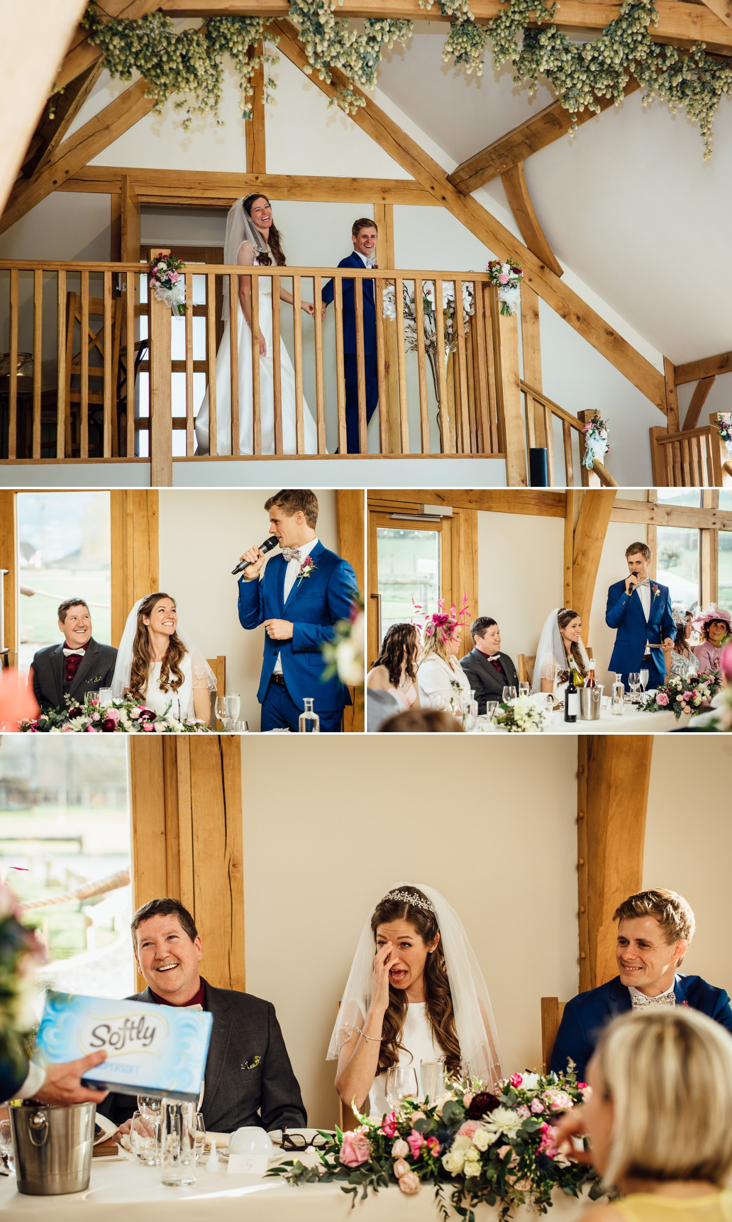 Wedding photography speeches in Tower Hill Barns