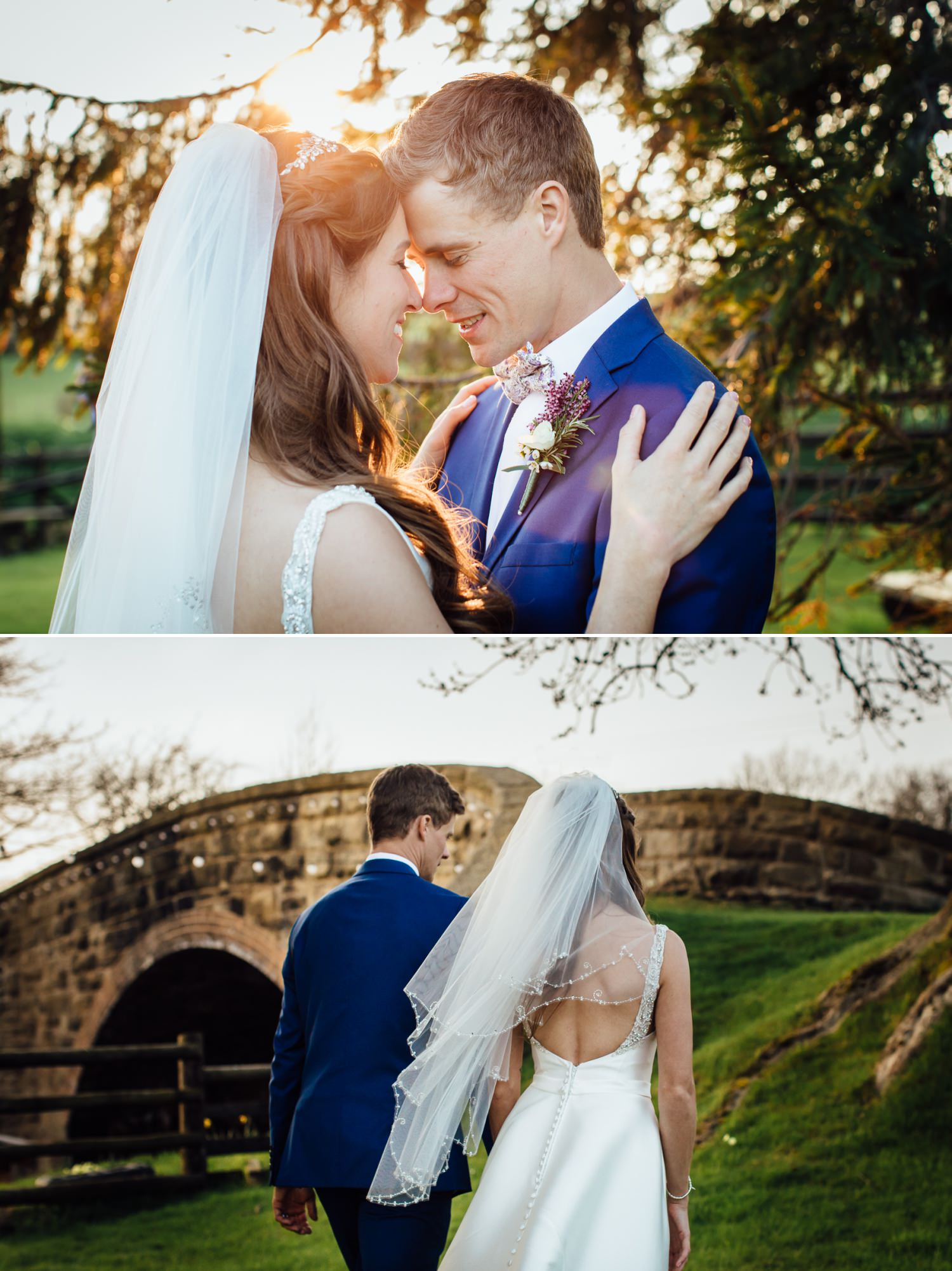 Wedding photography portraits in field in Tower Hill Barns