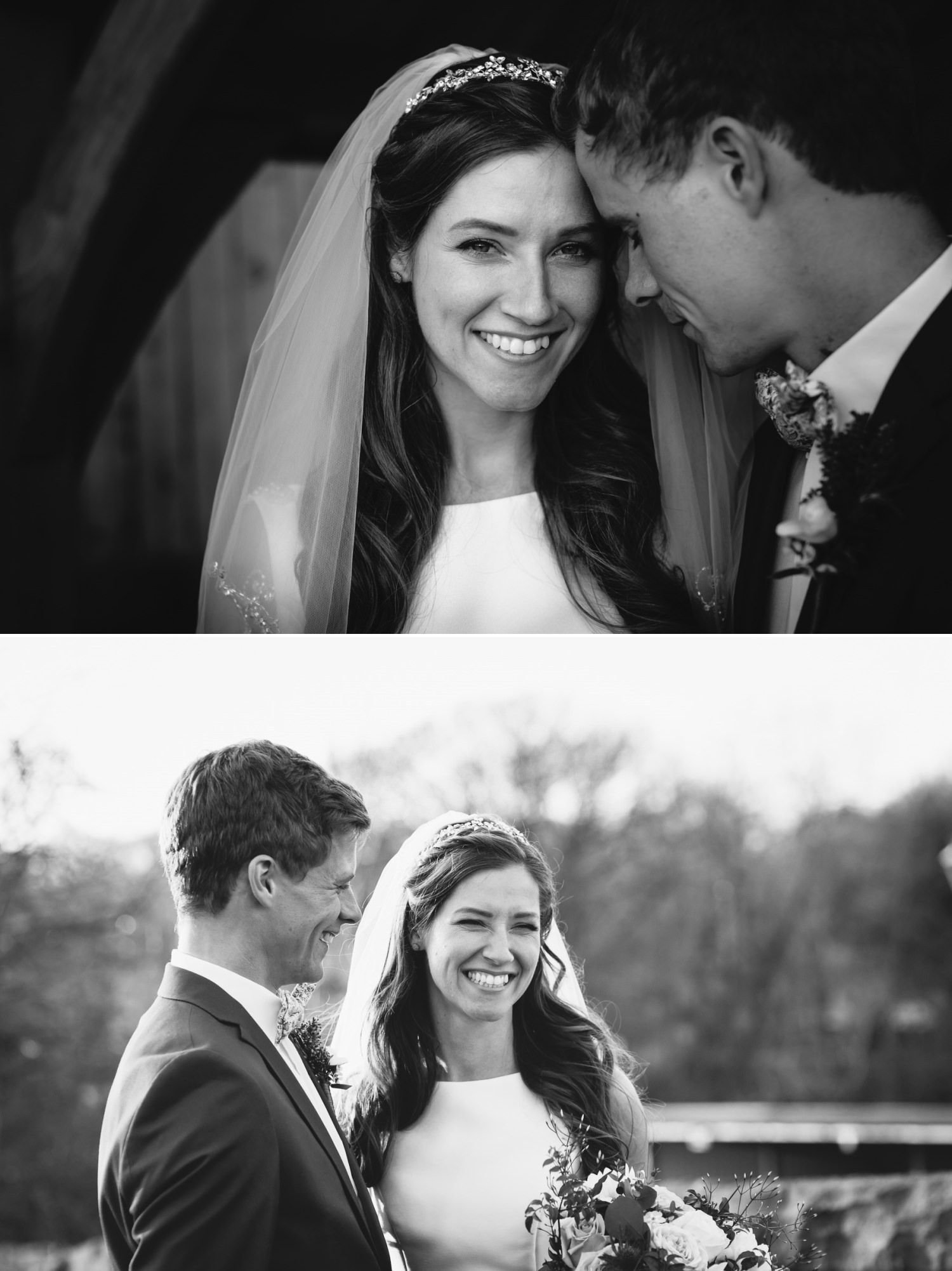 Wedding photography portraits black and white in Tower Hill Barns