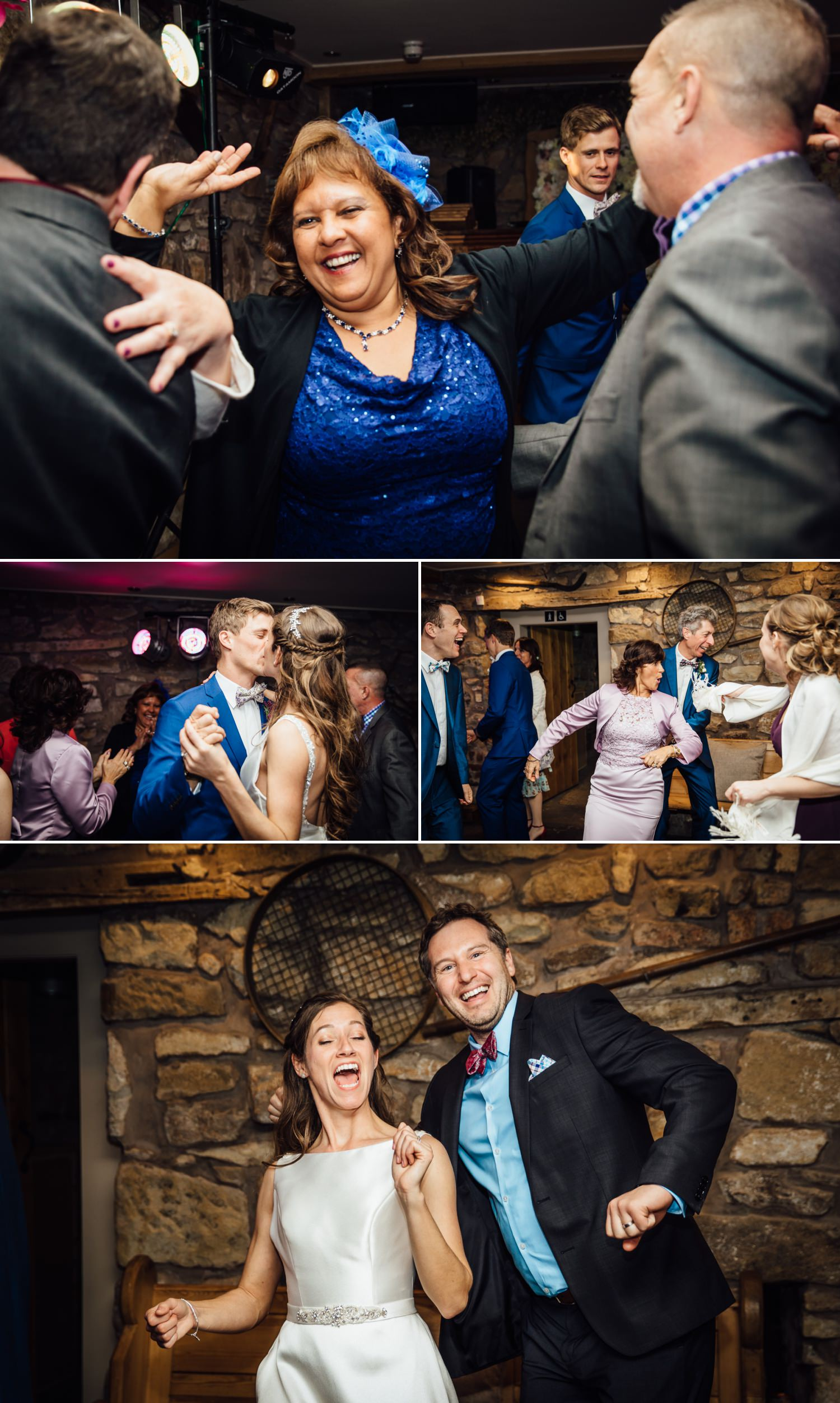 Wedding photography guests dancing in Tower Hill Barns