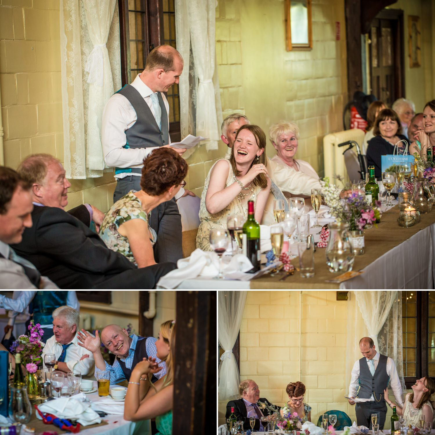 photography of guests laughing during speeches