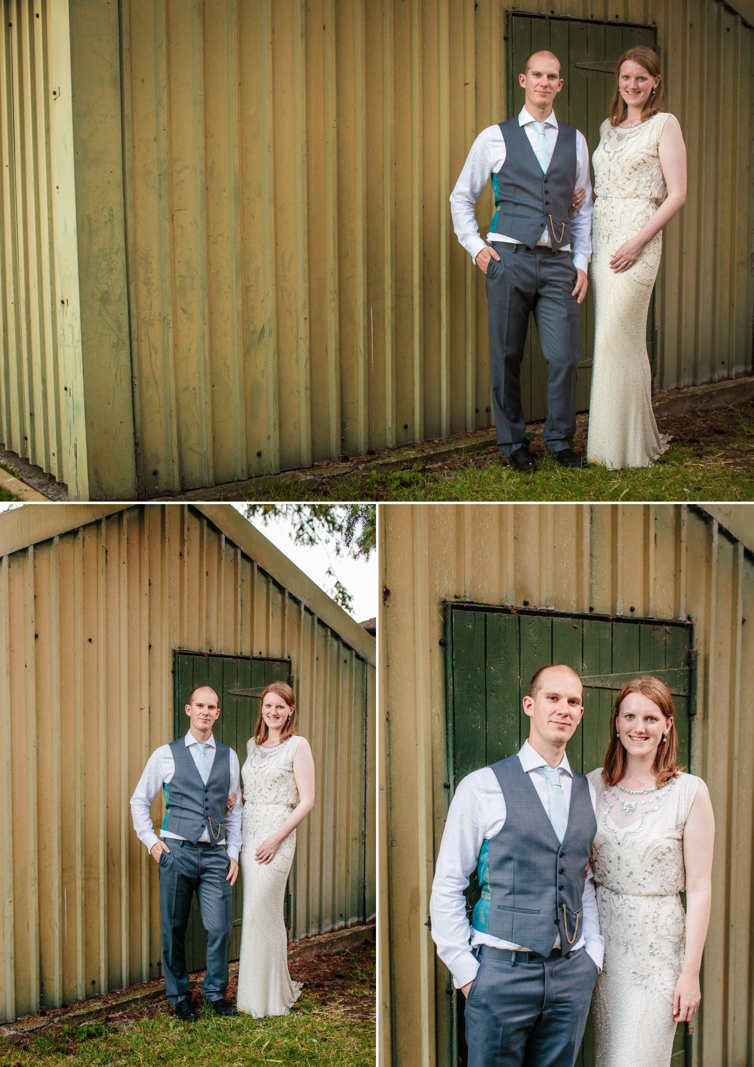 Wedding photographs portraits outside Worfield Village Hall