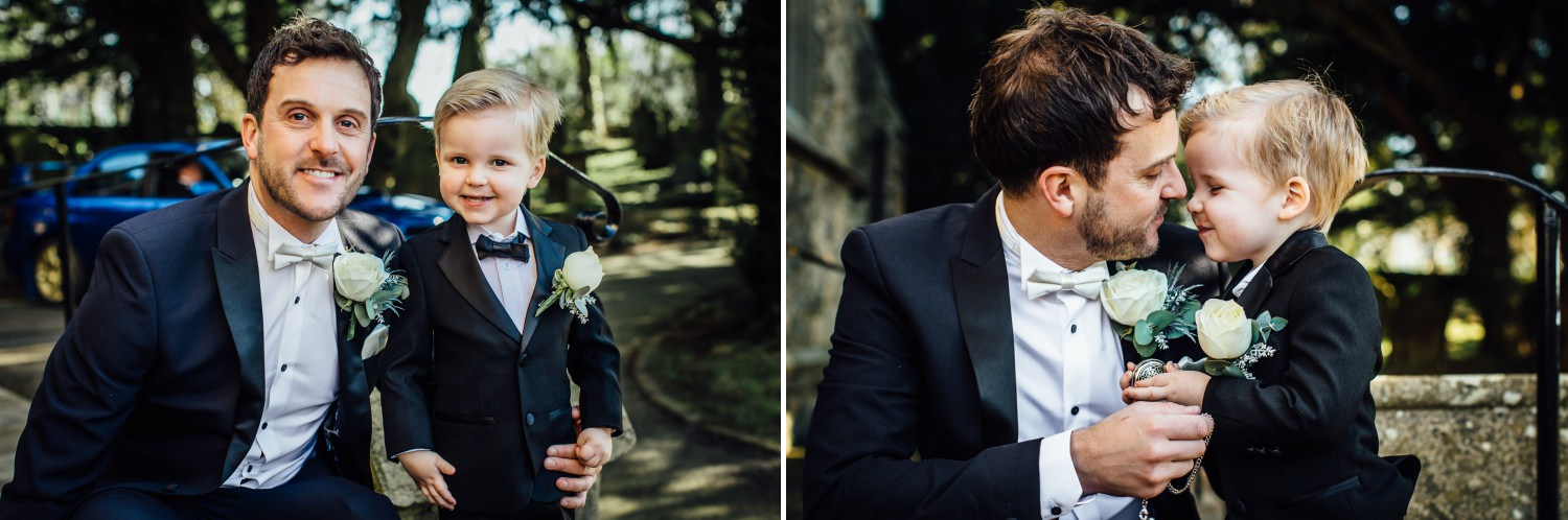 Groom and page boy photograph at St Mary Church, Minera