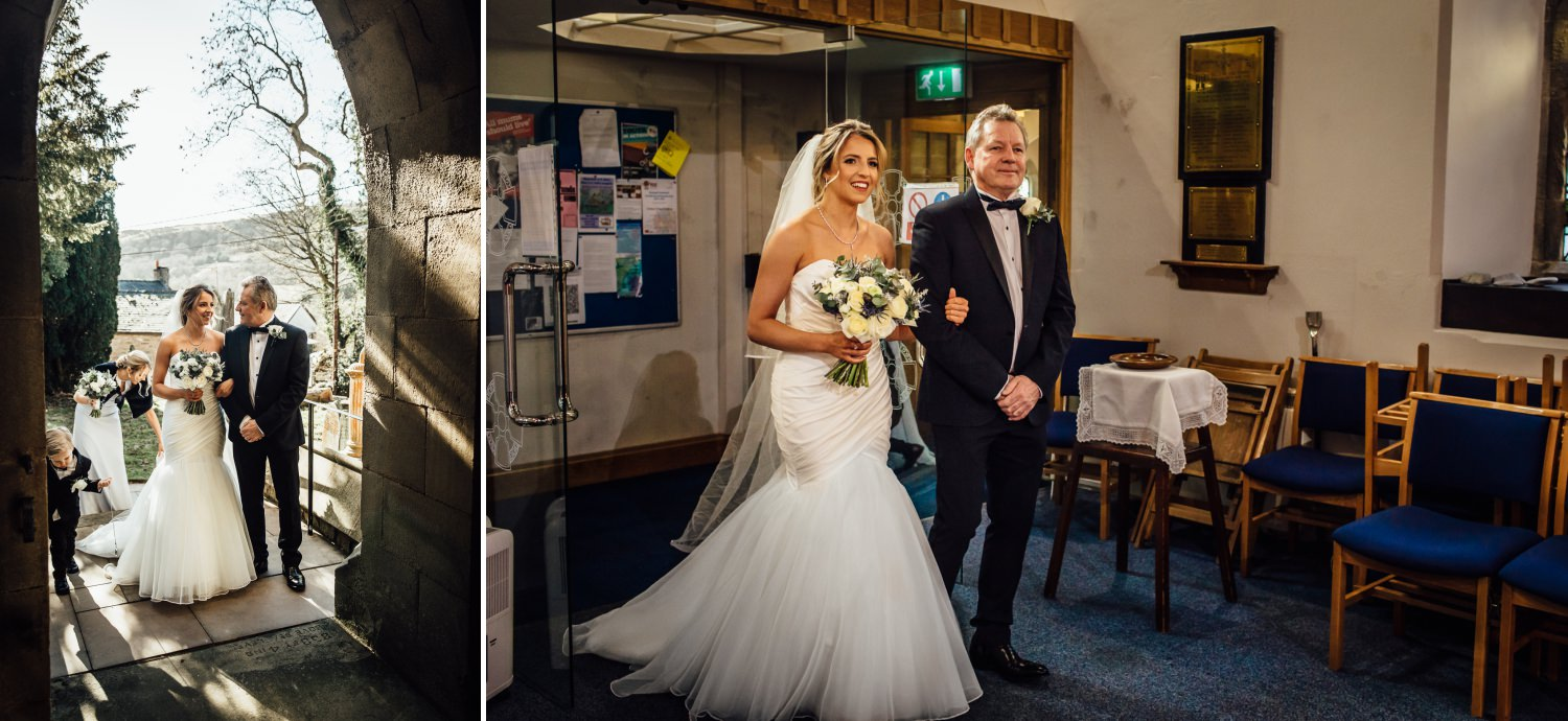 Bride photograph in church with father at St Marys Wrexham