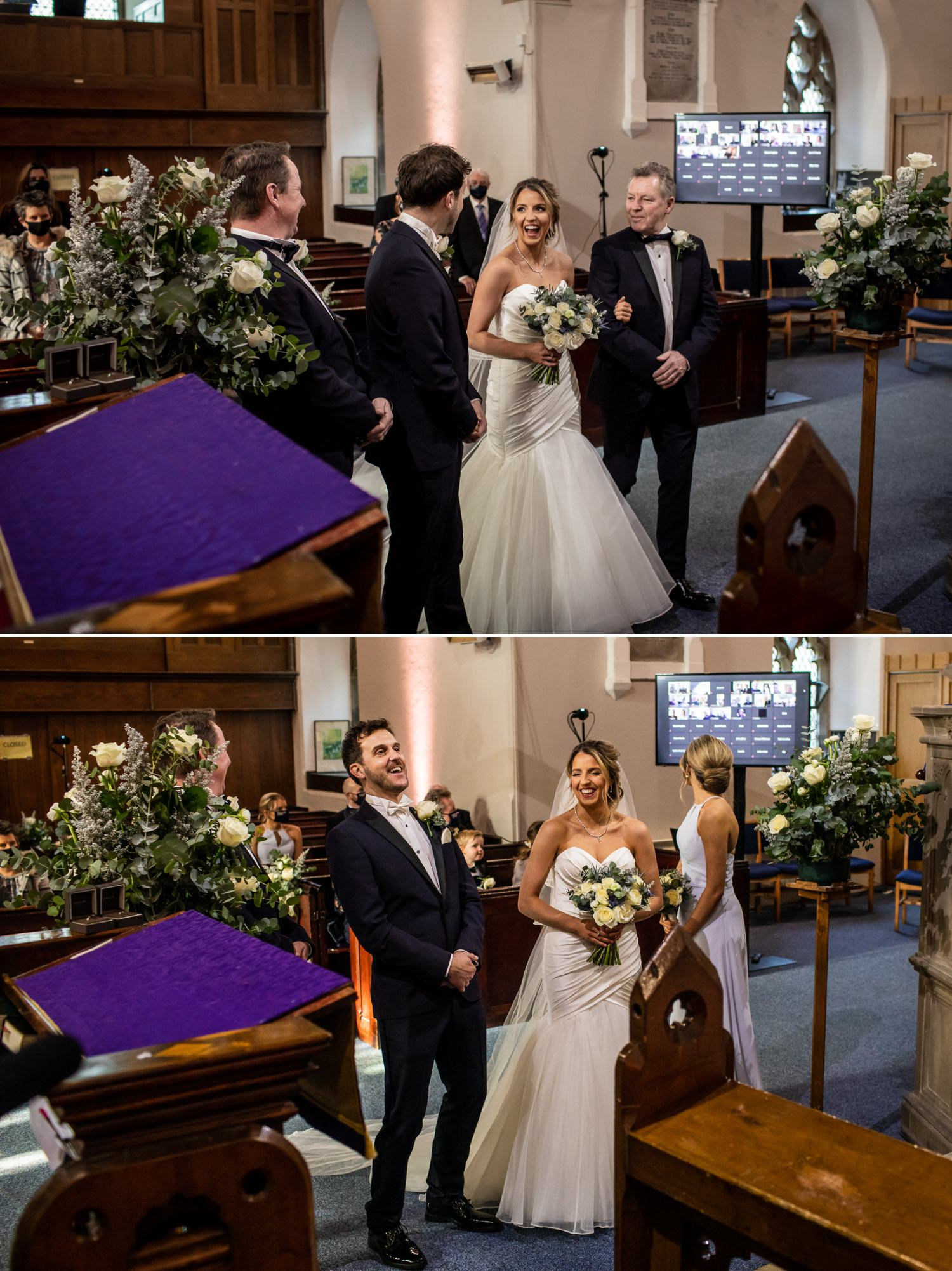 Bride seeing husband to be for first look photograph in St Marys Church Wrexham