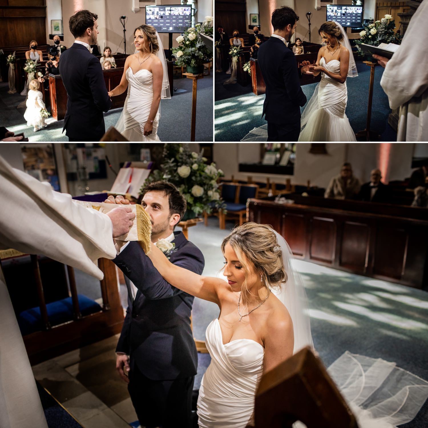 Saying the wedding vows photograph in St Mary Church Wrexham