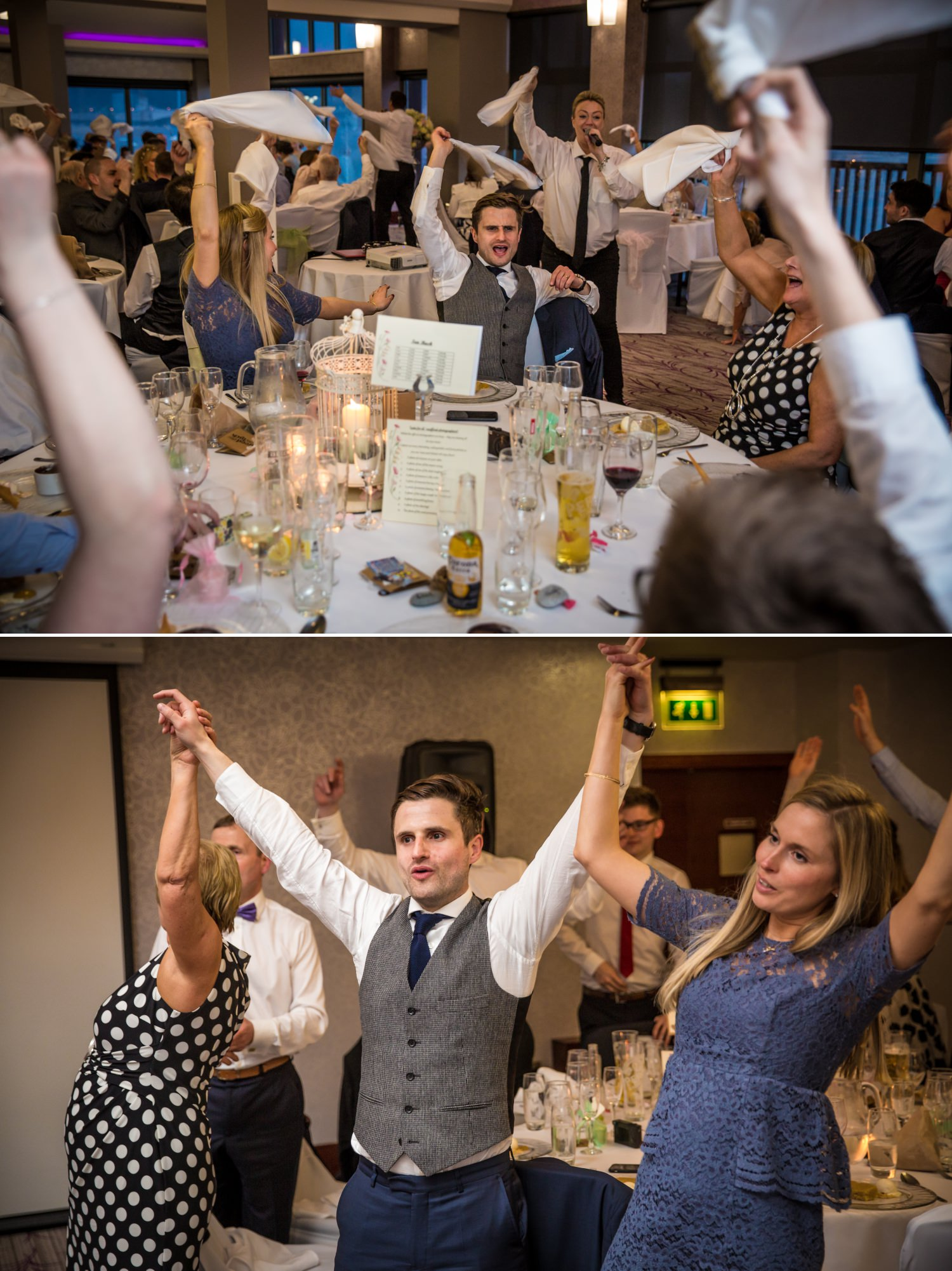 Wedding photography of signing waiters at Quay Hotel, North Wales