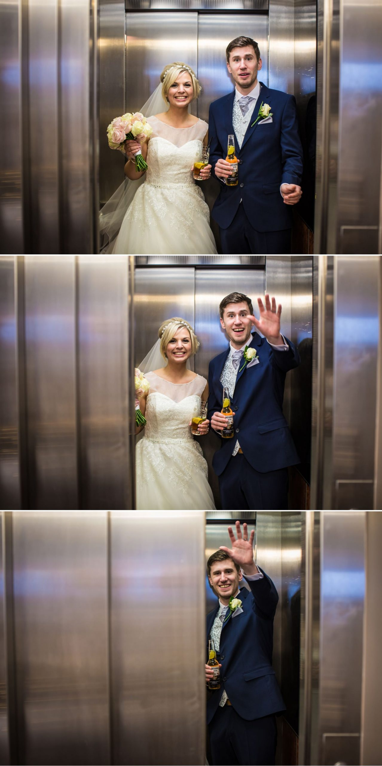 Wedding photograph in lift at Quay Hotel, North Wales