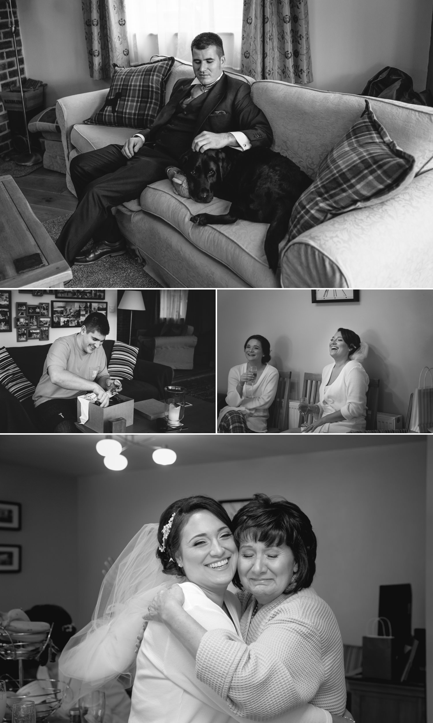 Photographs of the bride and groom getting ready