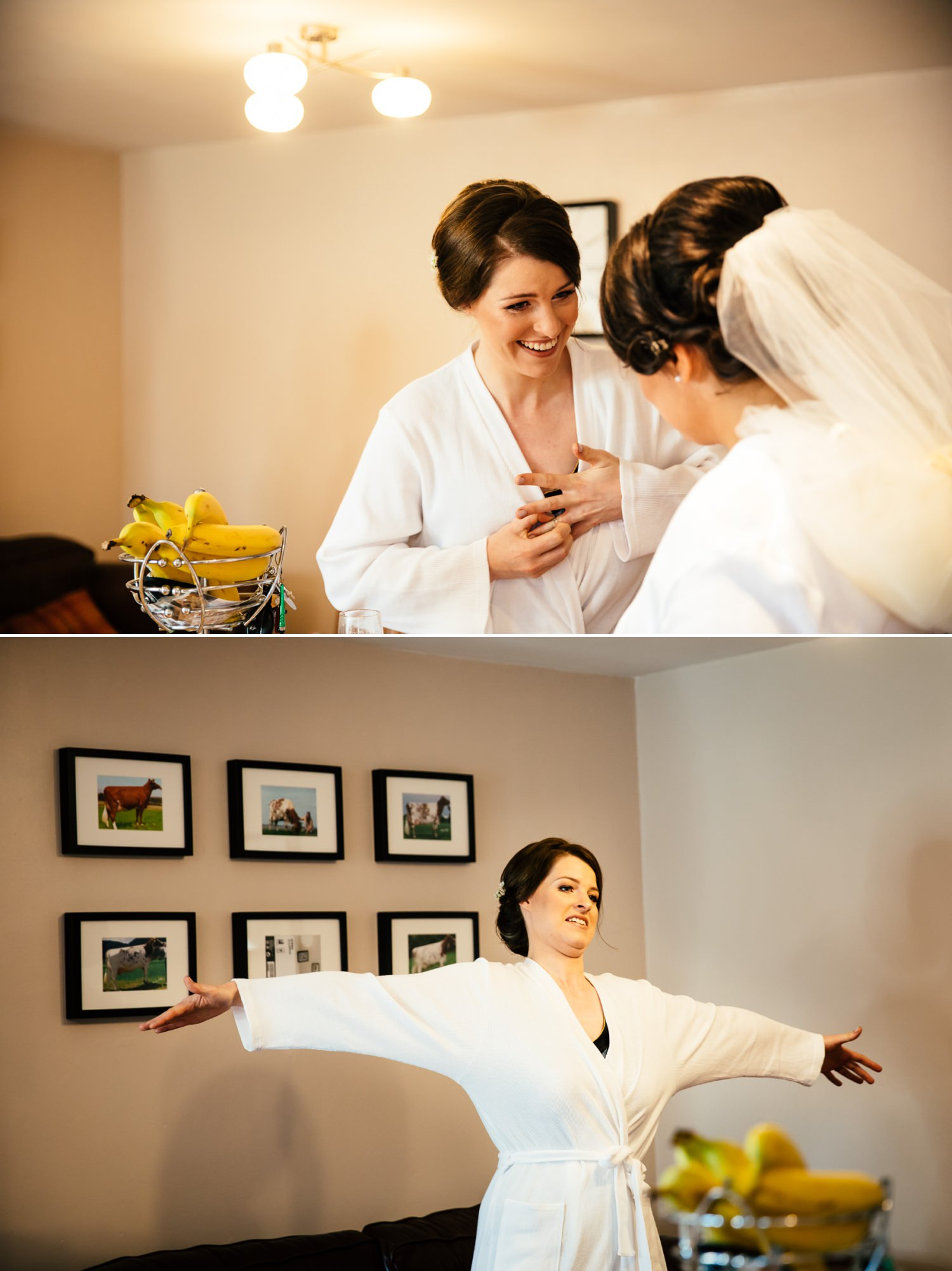 bride laughing with bridesmaid