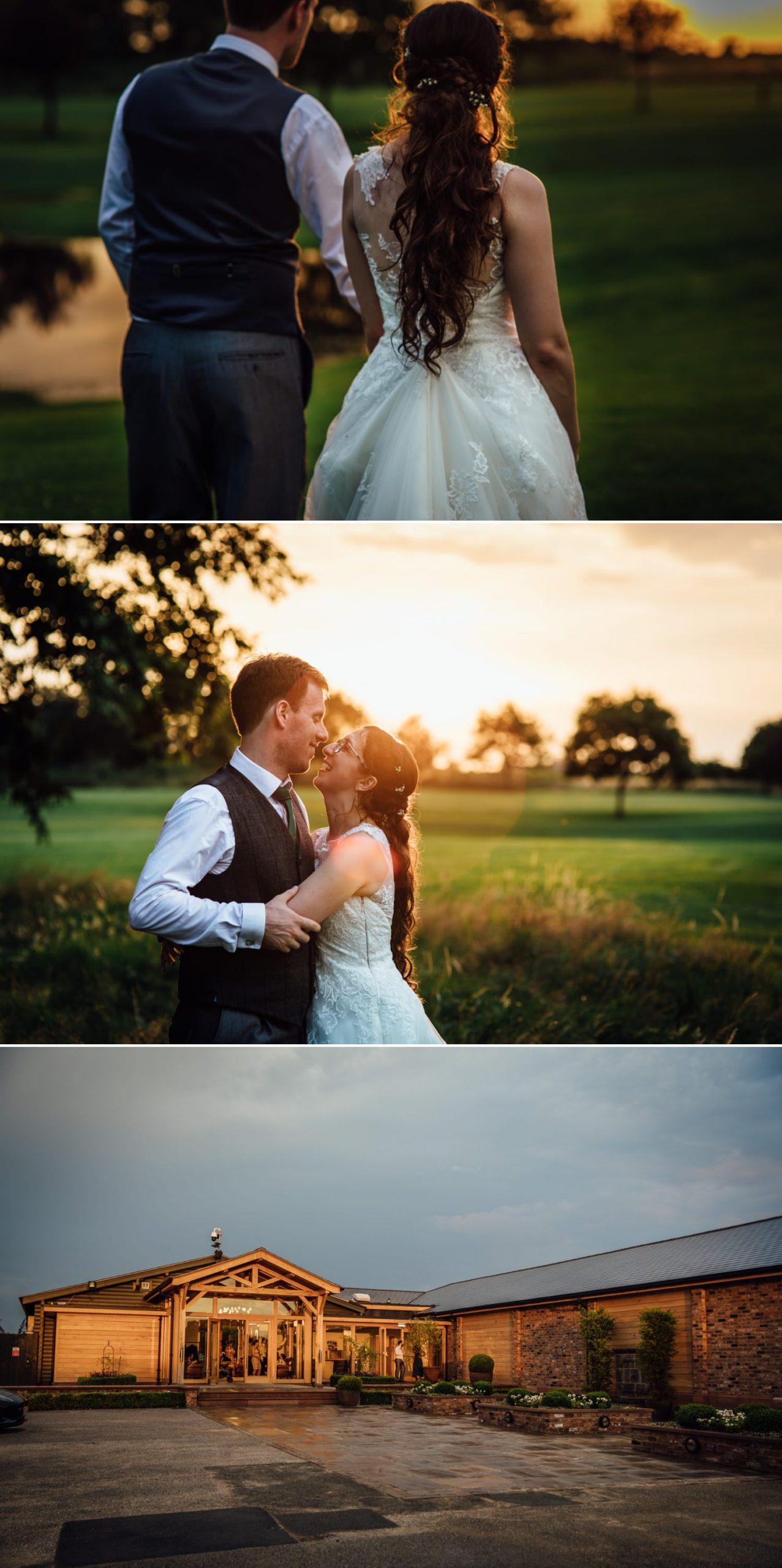 evening sunshine on Pryors Hayes wedding venue