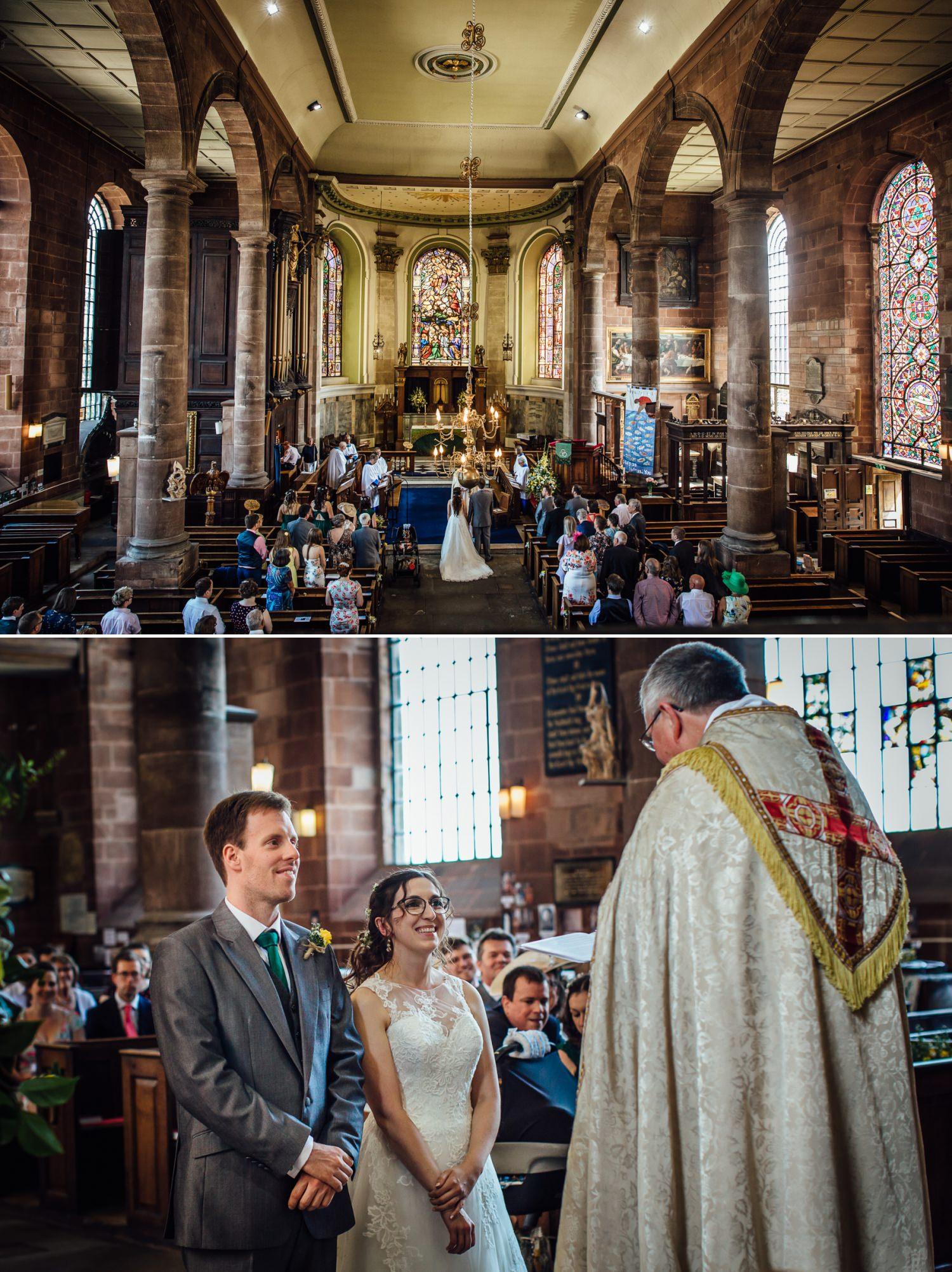 wedding ceremony inside the church