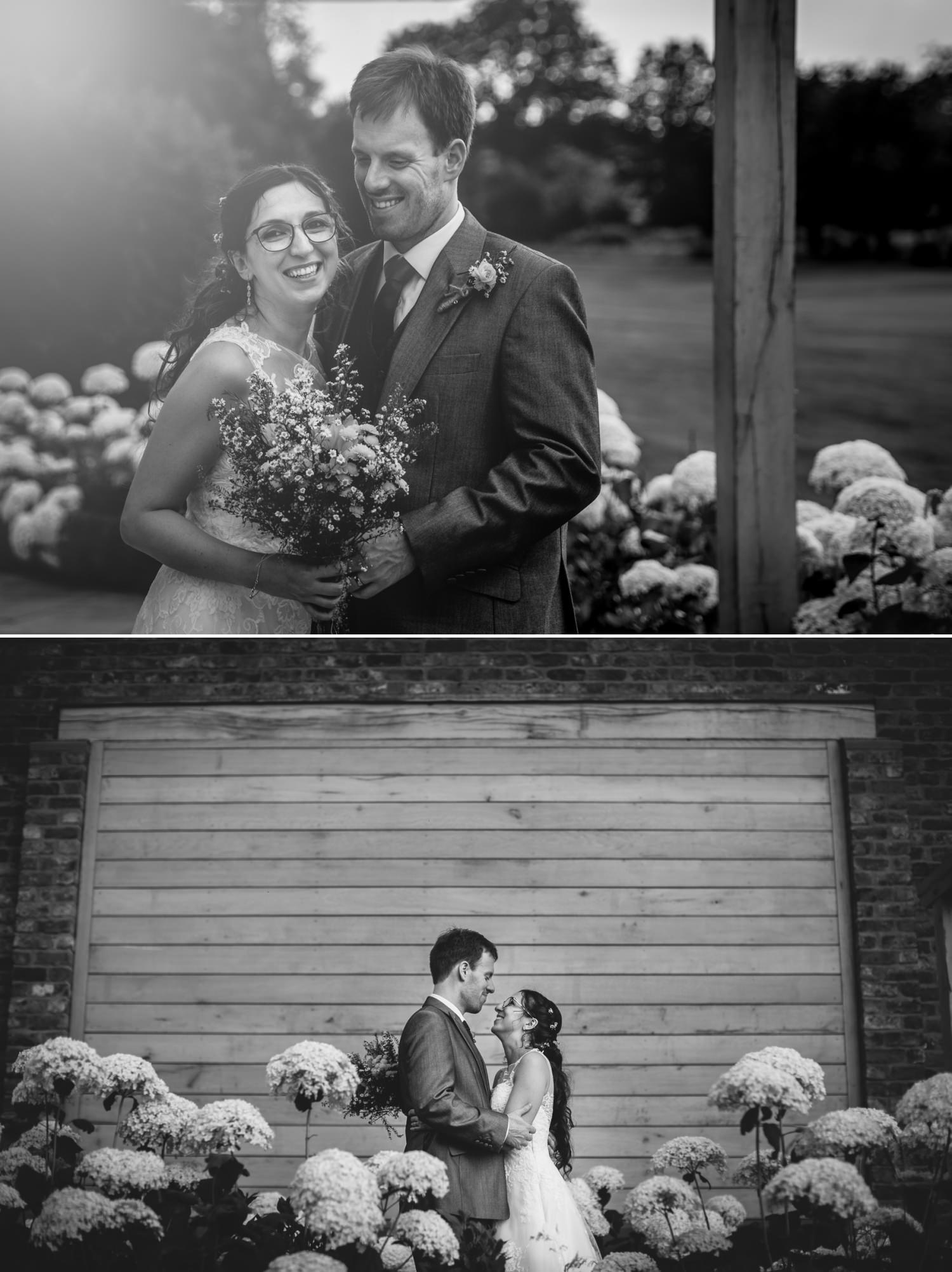 bride and groom portraits in Pryors Hayes garden
